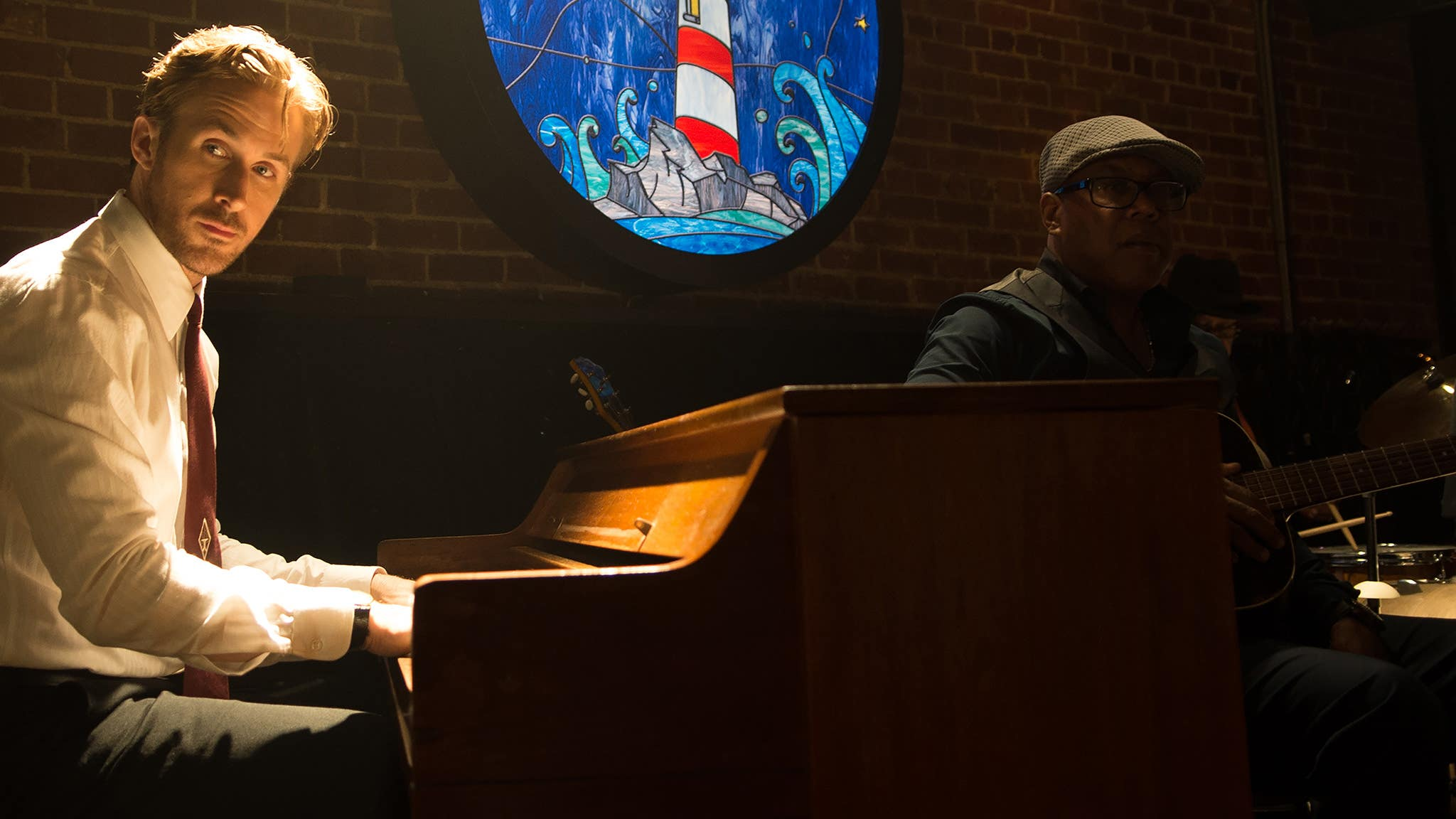 """Ryan Gosling at the Lighthouse Cafe in a scene from """"La La Land"""""""