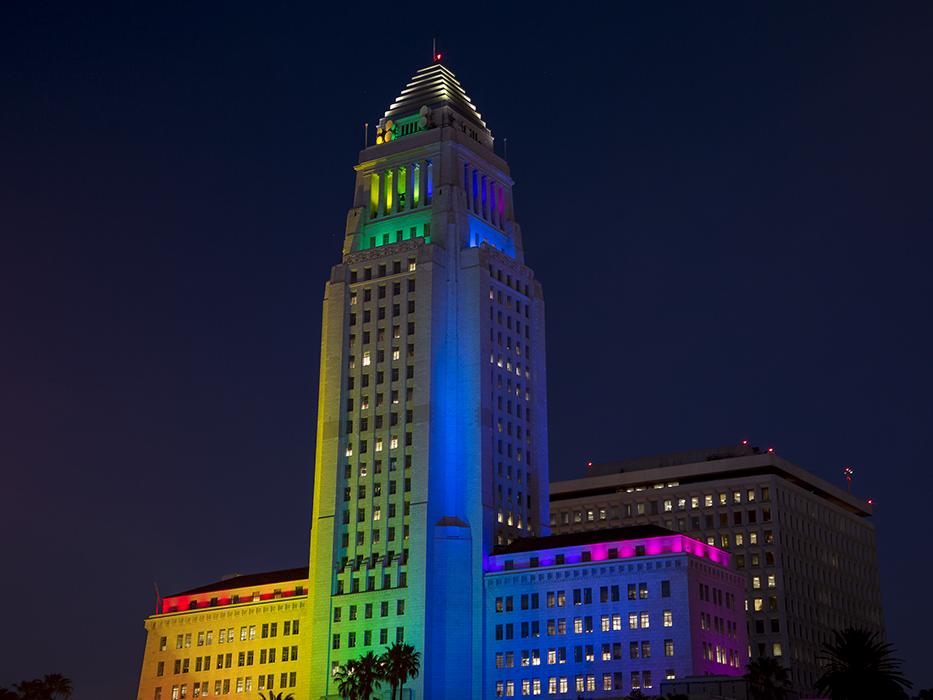 Los Angeles City Hall Pride Flag at night