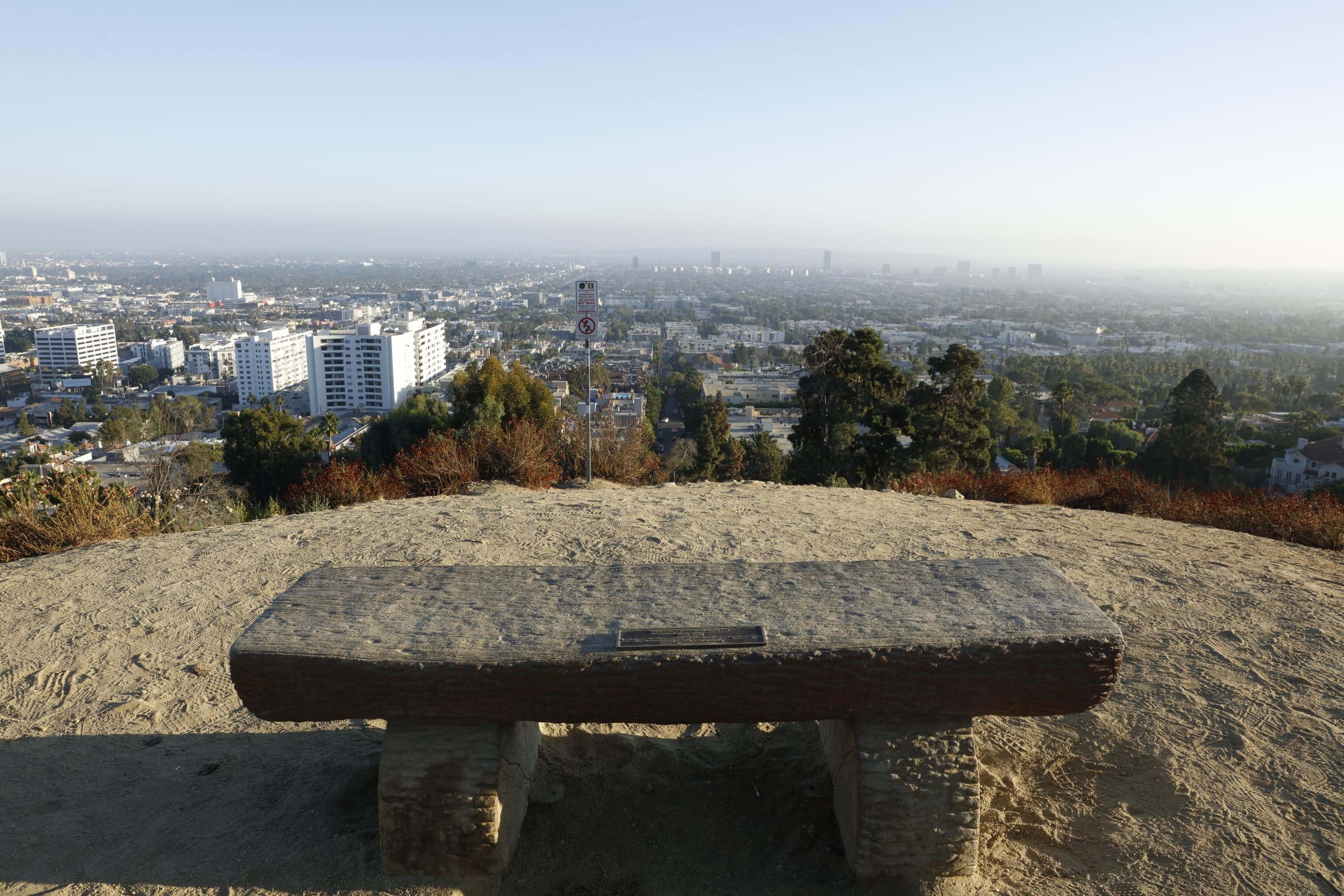 Runyon Canyon bench and view
