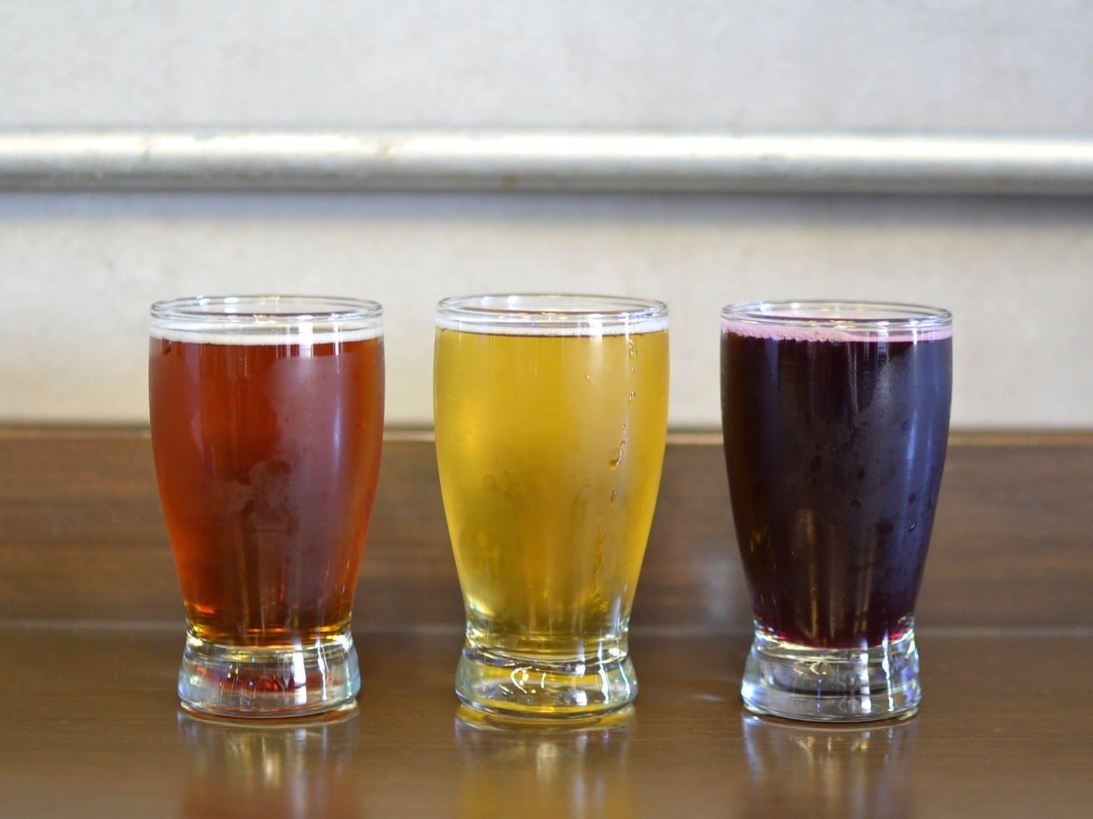Beer flight at Smog City Brewing