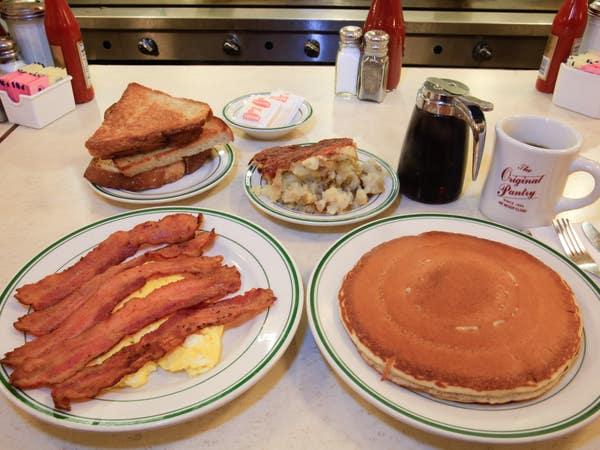 Pancakes, bacon & eggs at The Original Pantry