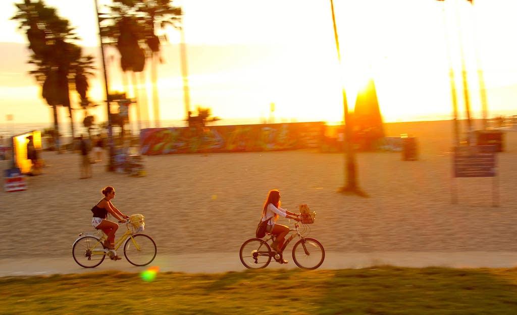 Venice Beach bikes at sunset
