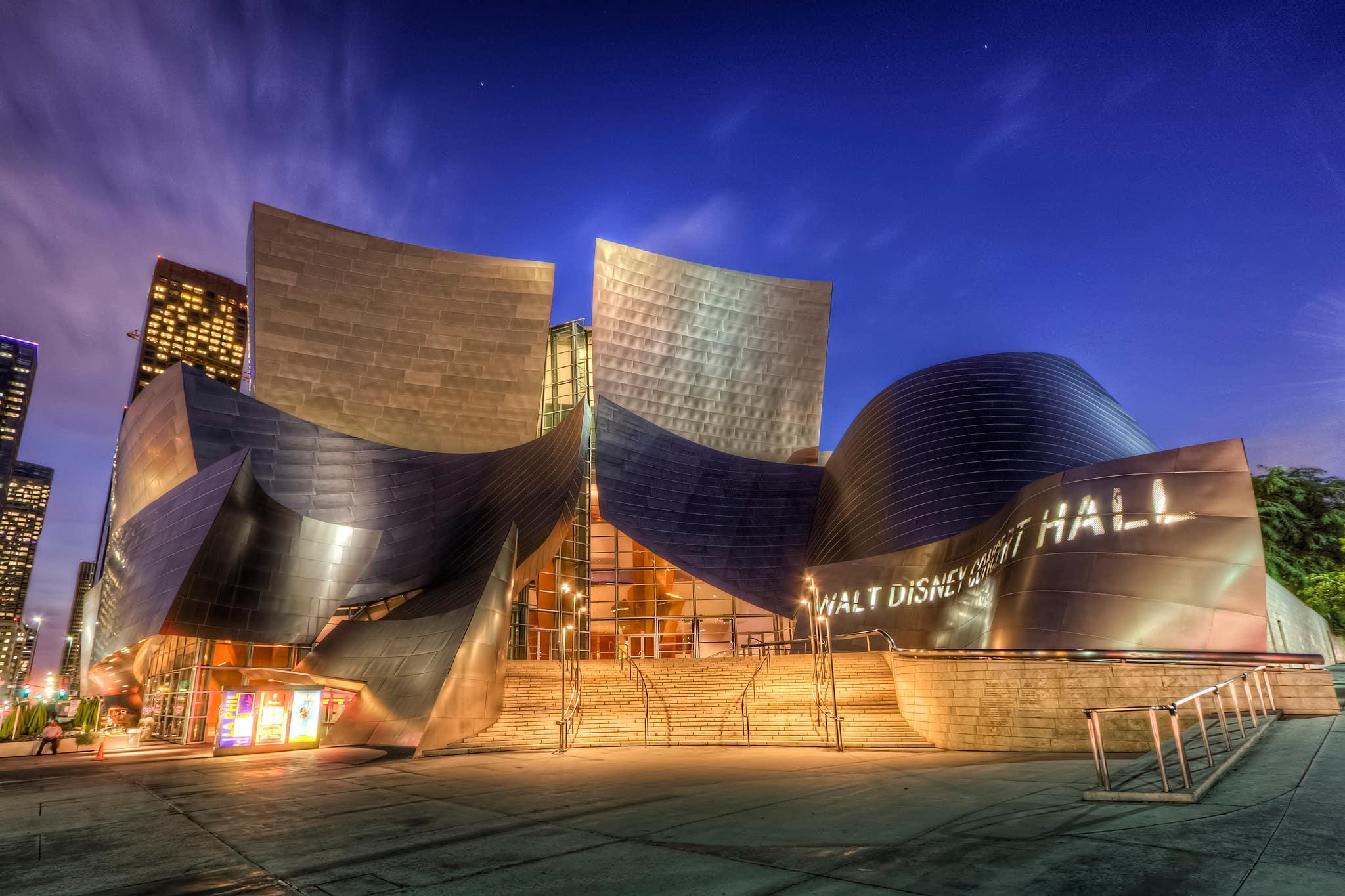 Exterior of Walt Disney Concert Hall at night