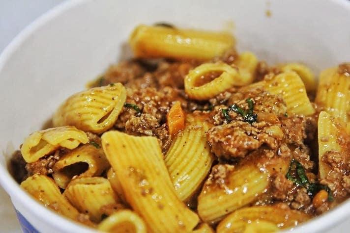 Rigatoni alla bolognese pasta from Prince of Venice