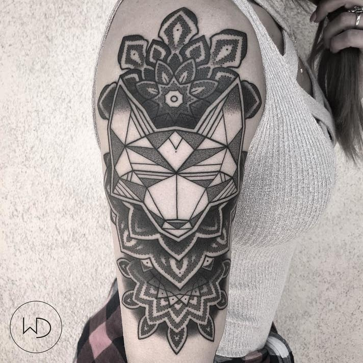 William Doolittle Geometric Fox Tattoo