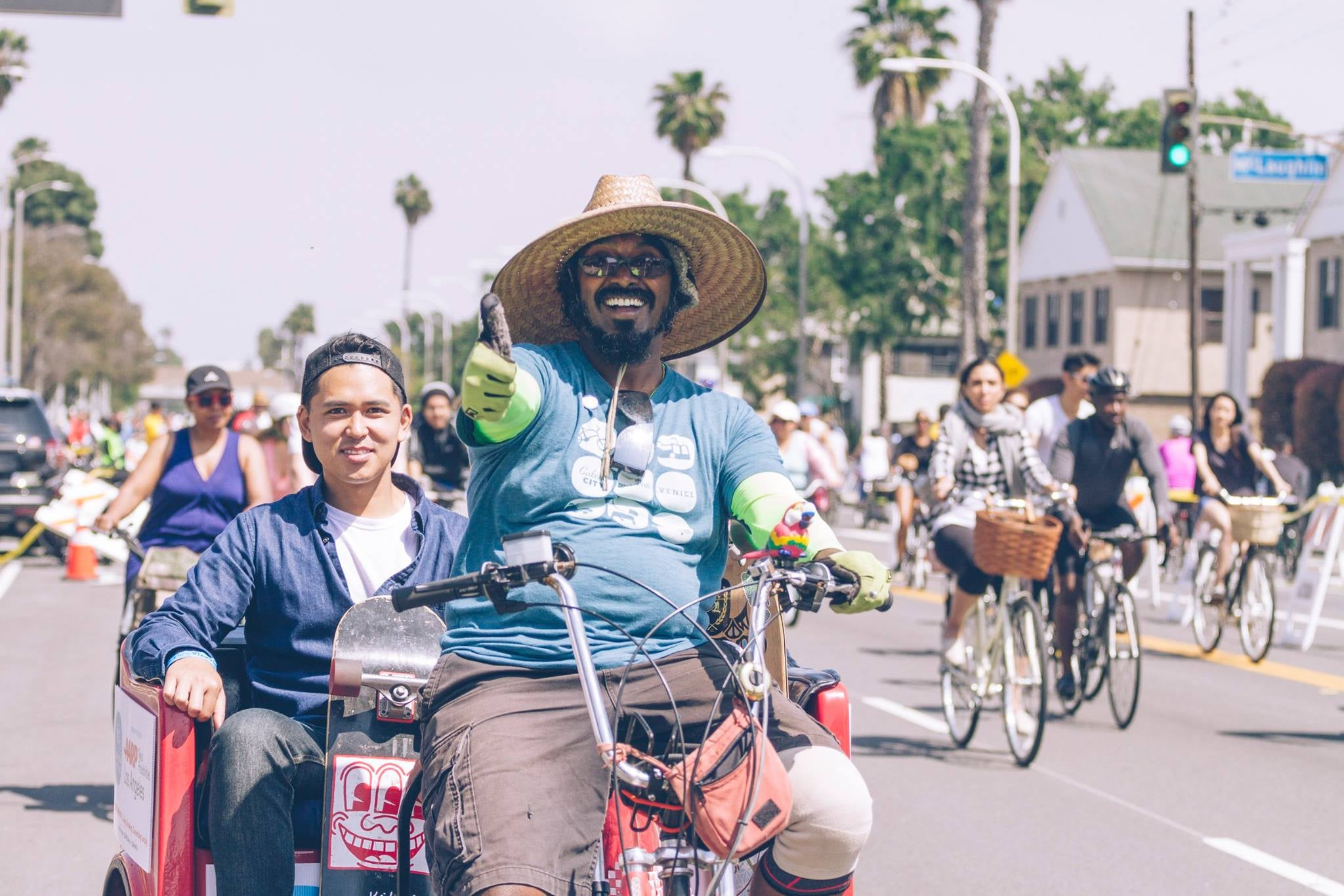 Riding the free Pedicab at CicLAvia in Culver City