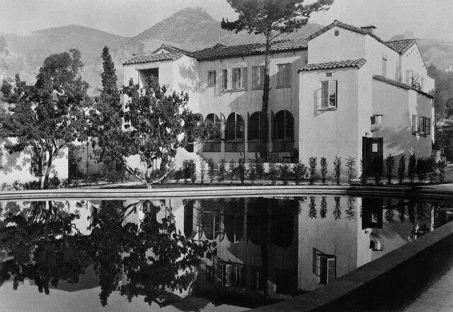 Main House and swimming pool at the Garden of Allah, circa 1940