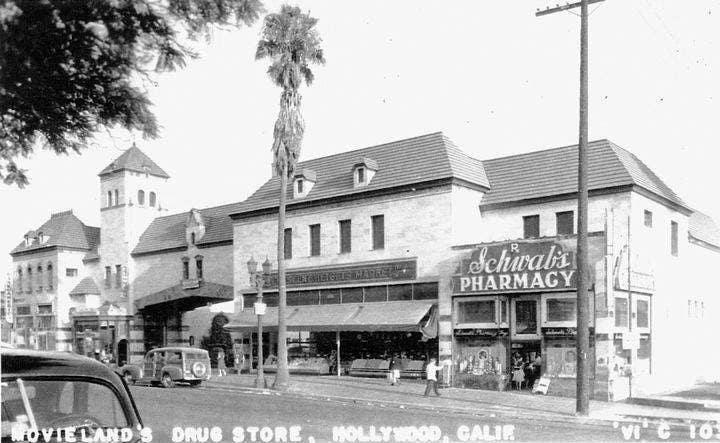 1940s postcard with Schwab's Pharmacy