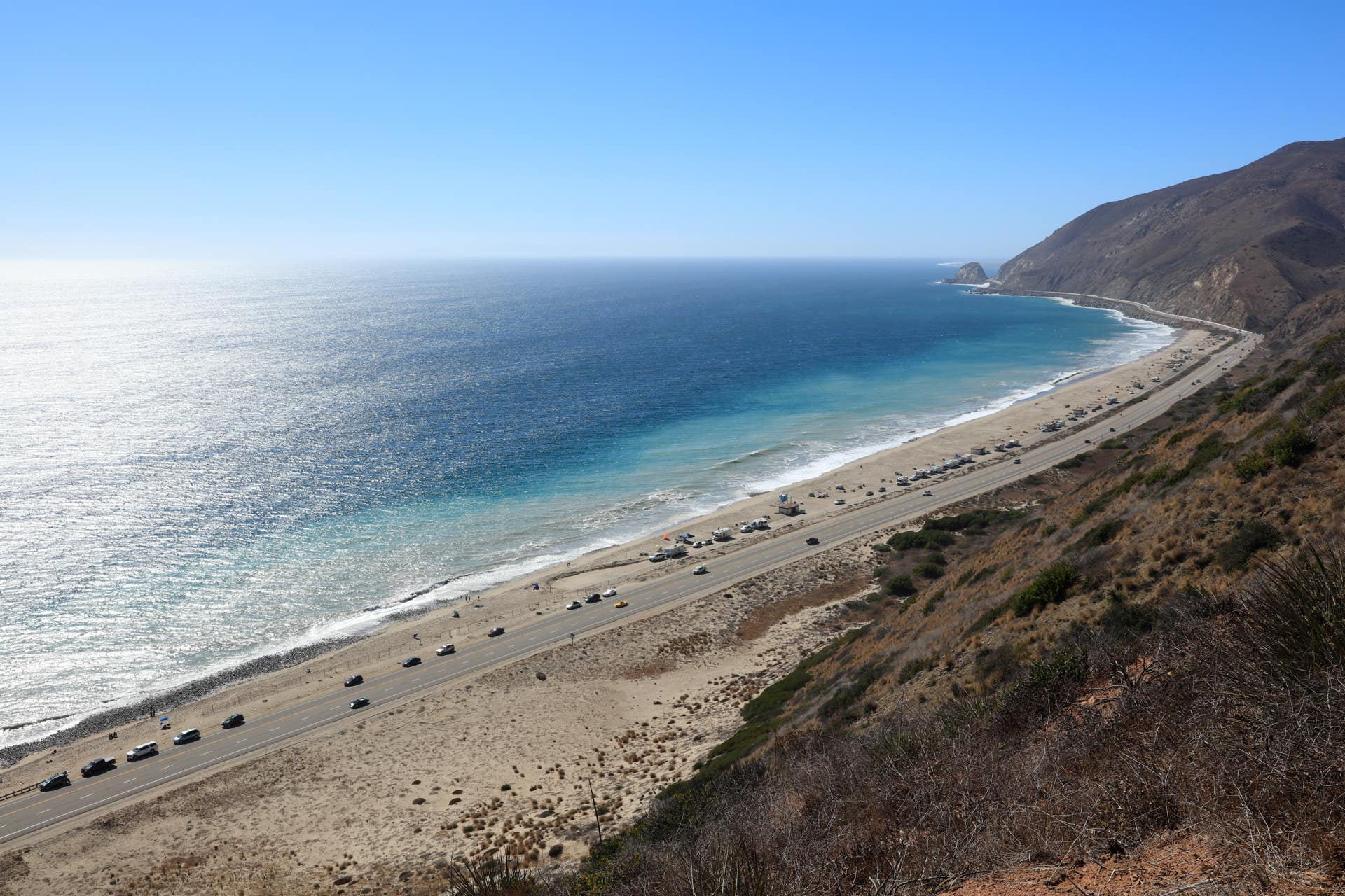 View of PCH from Point Mugu State Park in Malibu