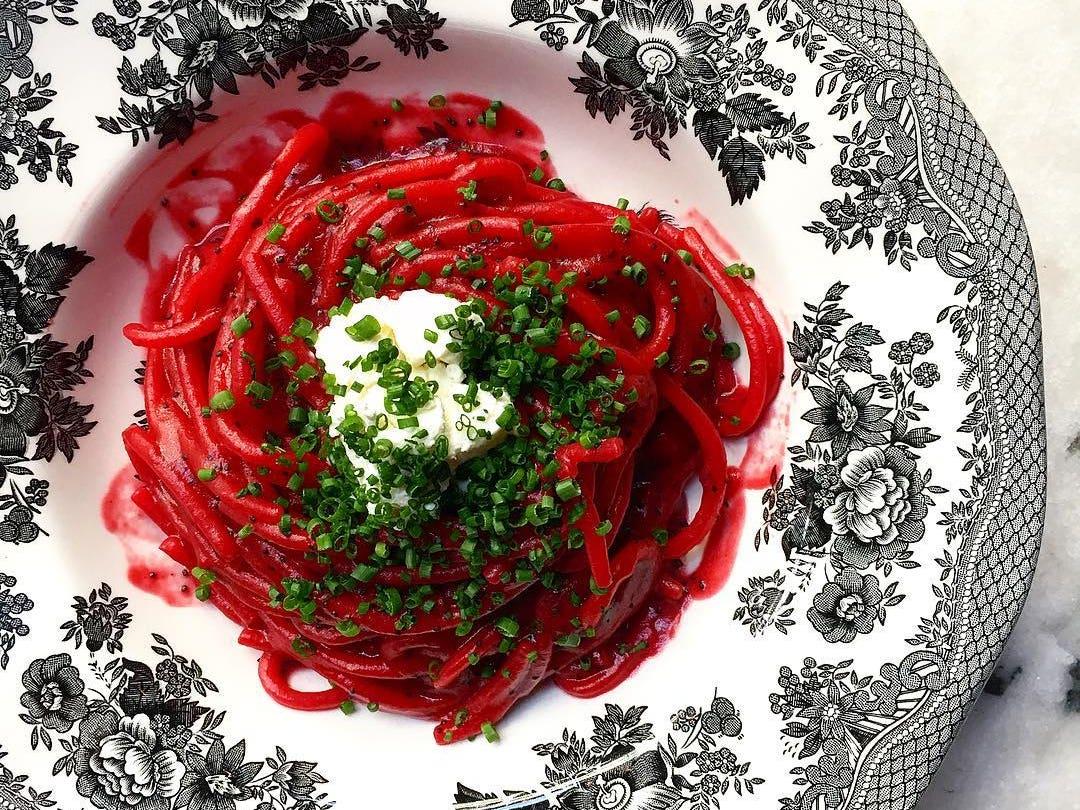 Beet spaghetti at Cento Pasta Bar in DTLA