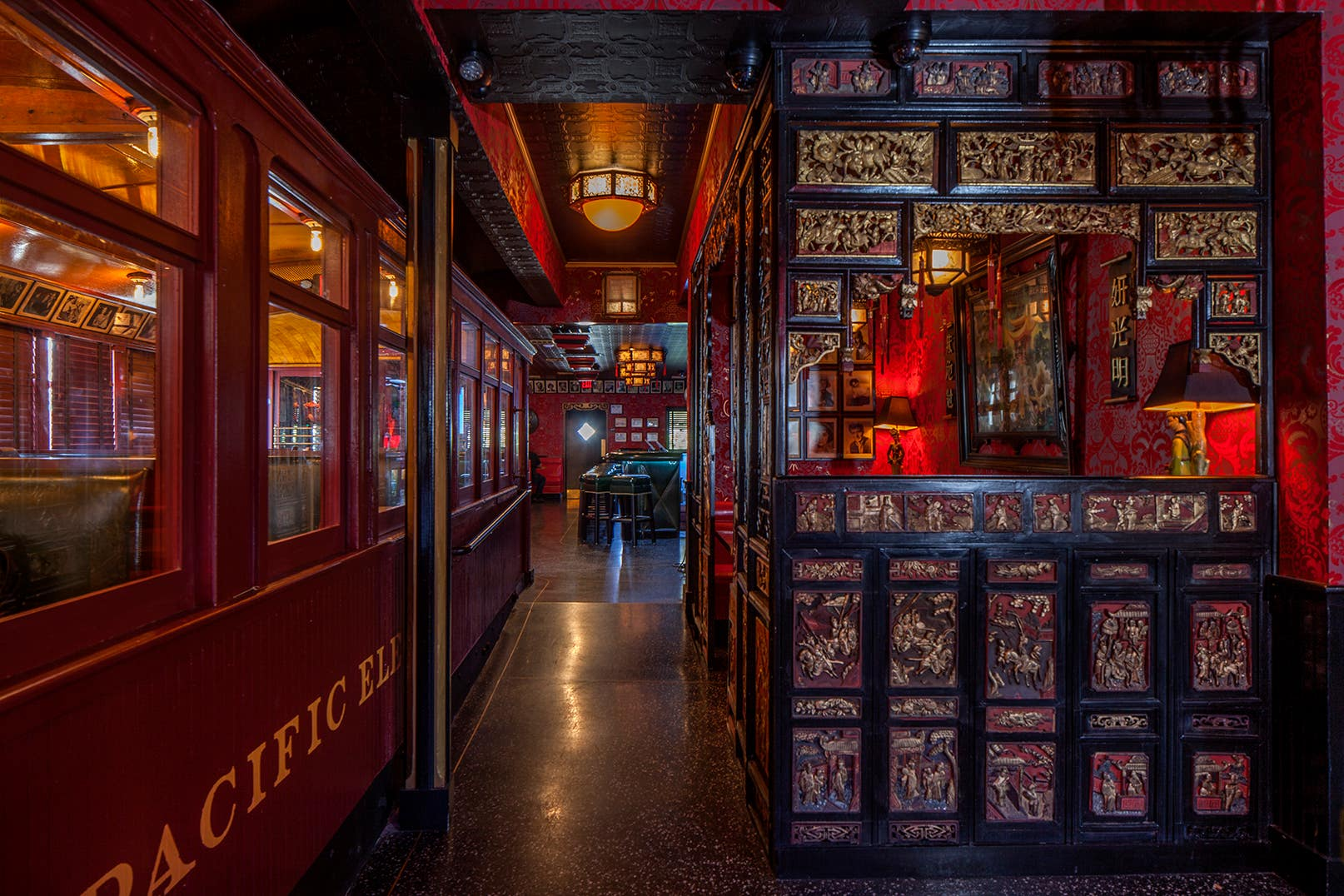 Pacific Electric Red Car trolley and chinoiserie booth at the Formosa Cafe