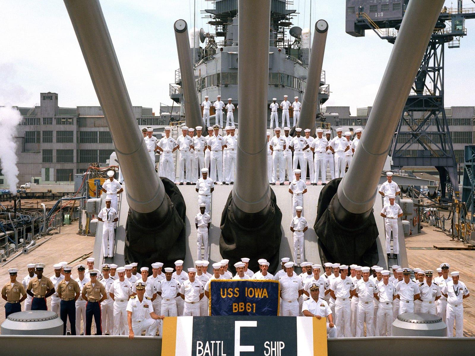 "Battle efficiency ""E"" Award won by Battleship IOWA"