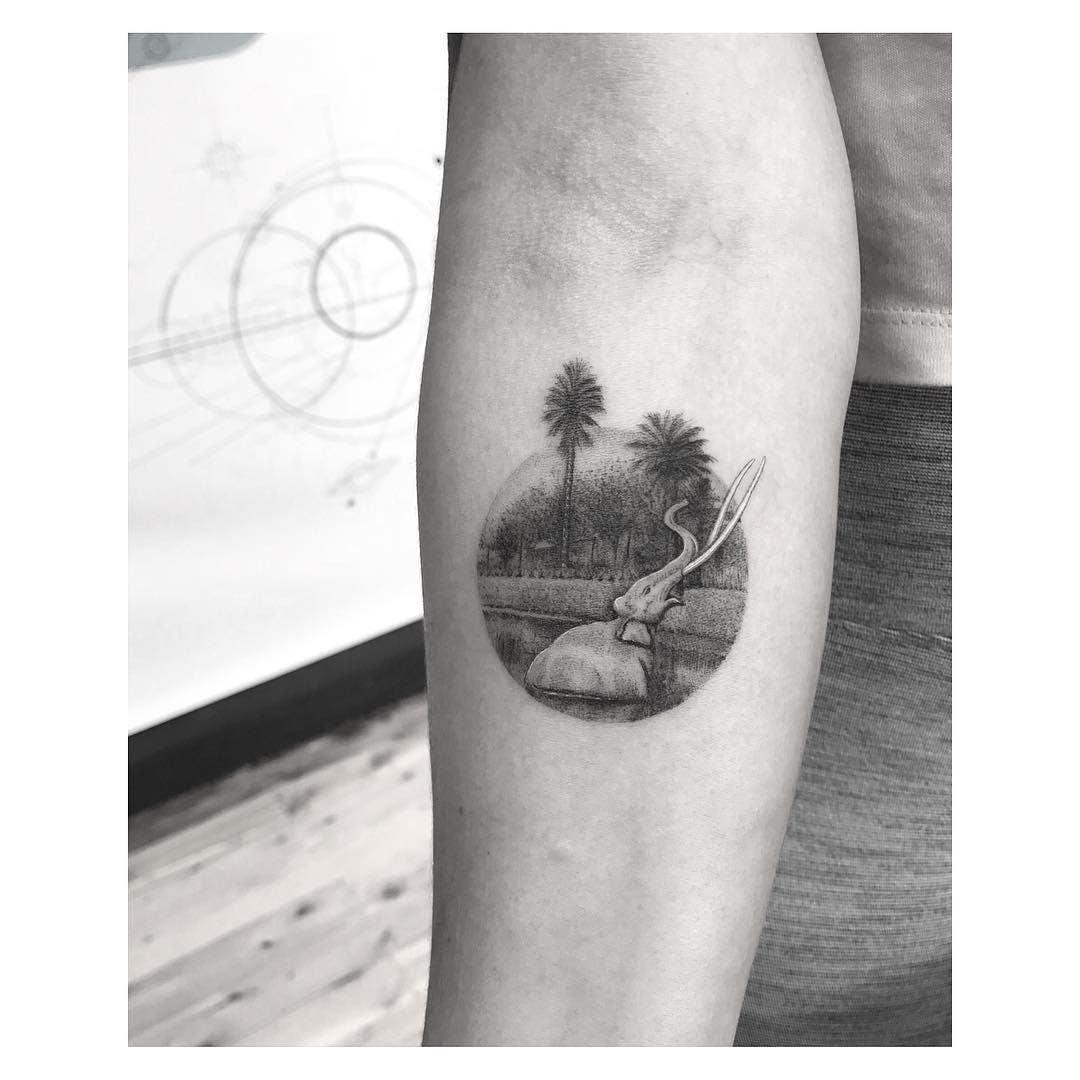 La Brea Tar Pits tattoo by Dr. Woo at Hunter & Fox Tattoo in Sydney