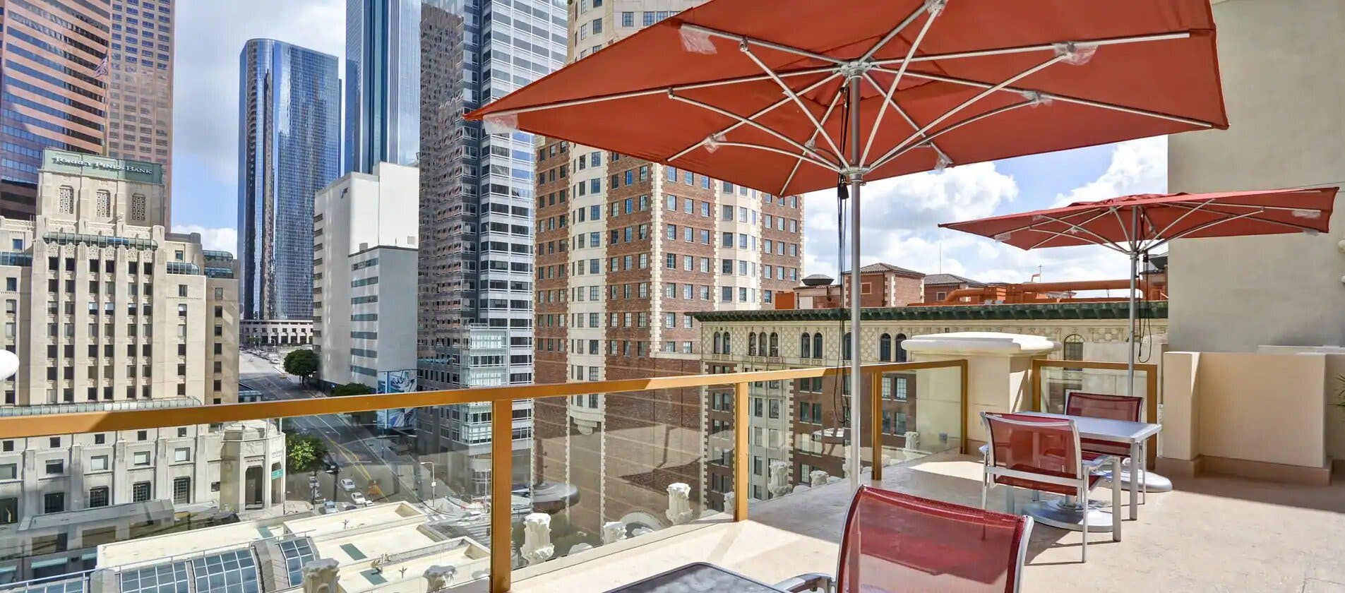 Rooftop seating at the Hilton Checkers Los Angeles