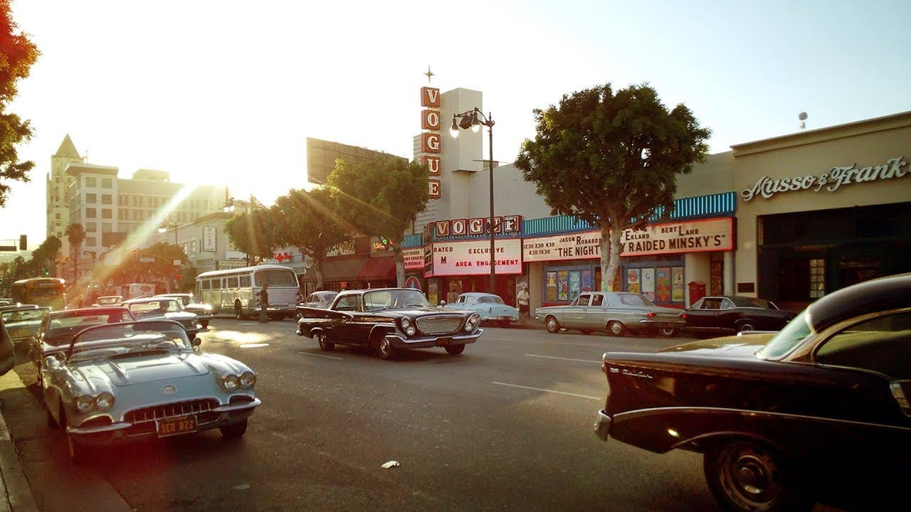 The Vogue Theatre dressed for Once Upon a Time in Hollywood