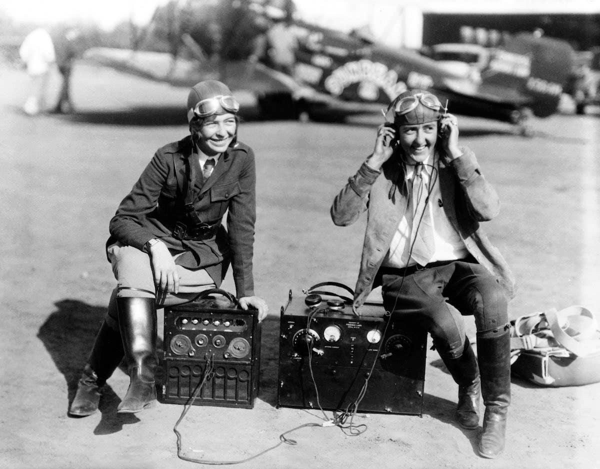 Bobbi Trout and Elinor Smith at Metropolitan Airport (Van Nuys Airport)