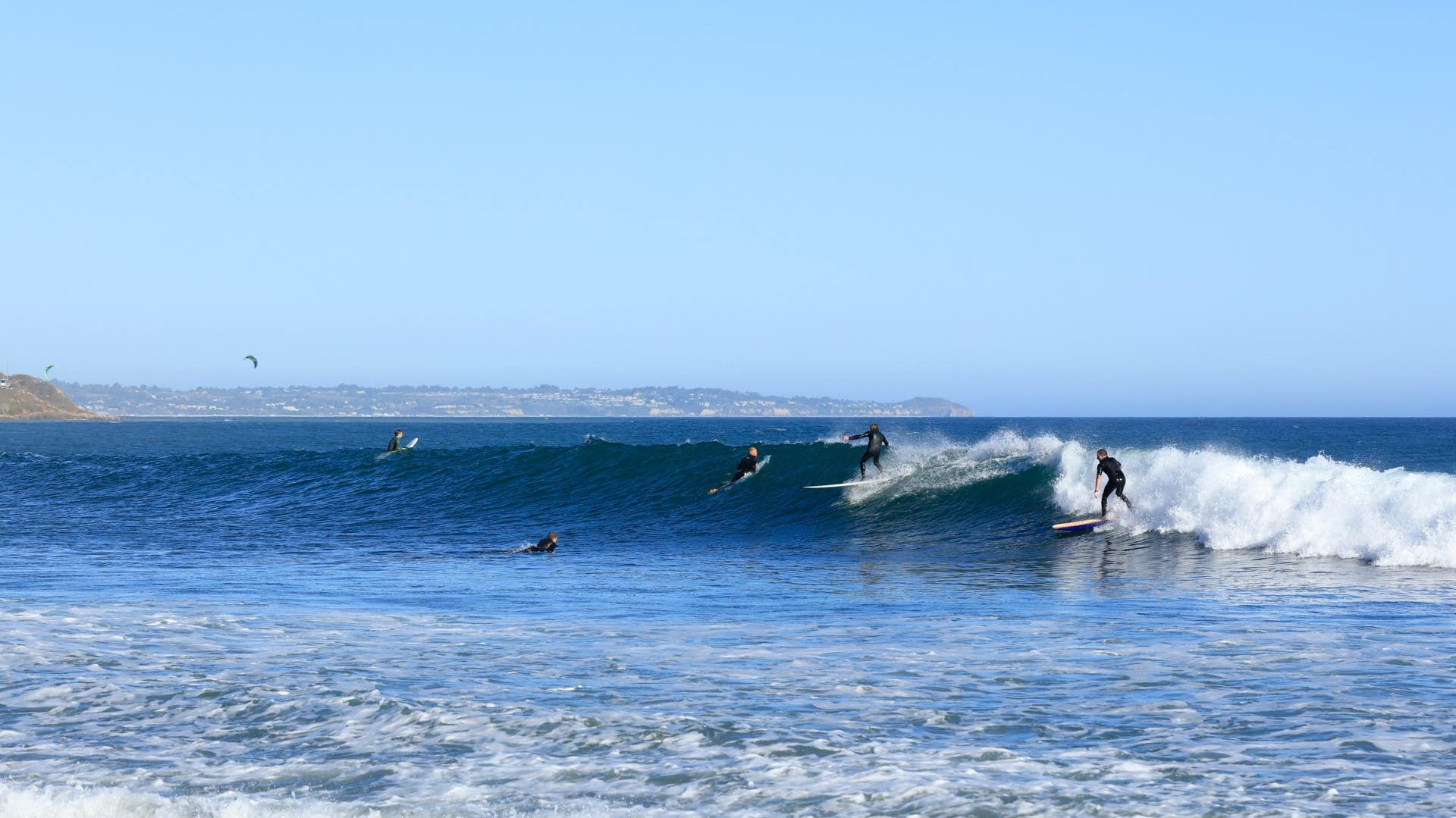 Surfers at Leo Carrillo State Beach in Malibu