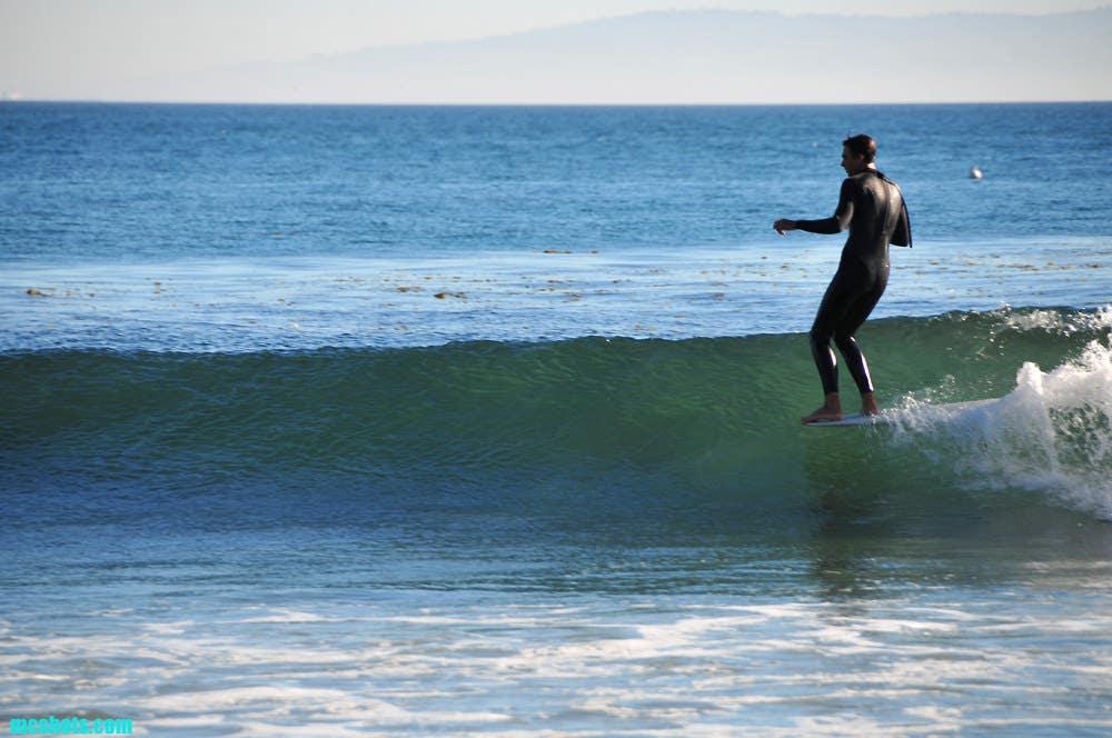 Longboarder at Topanga Beach