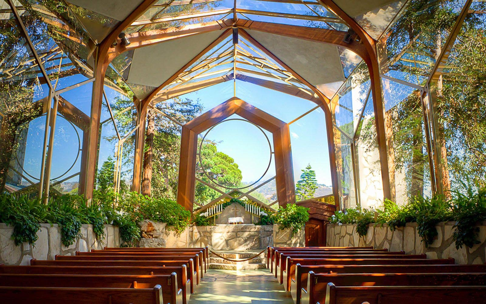 Wayfarers Chapel interior during the day