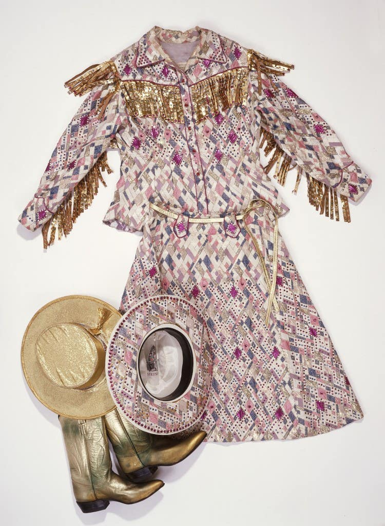 """Woman's two-piece outfit from """"Gold at the [Au]try"""" exhibit at the Autry Museum"""