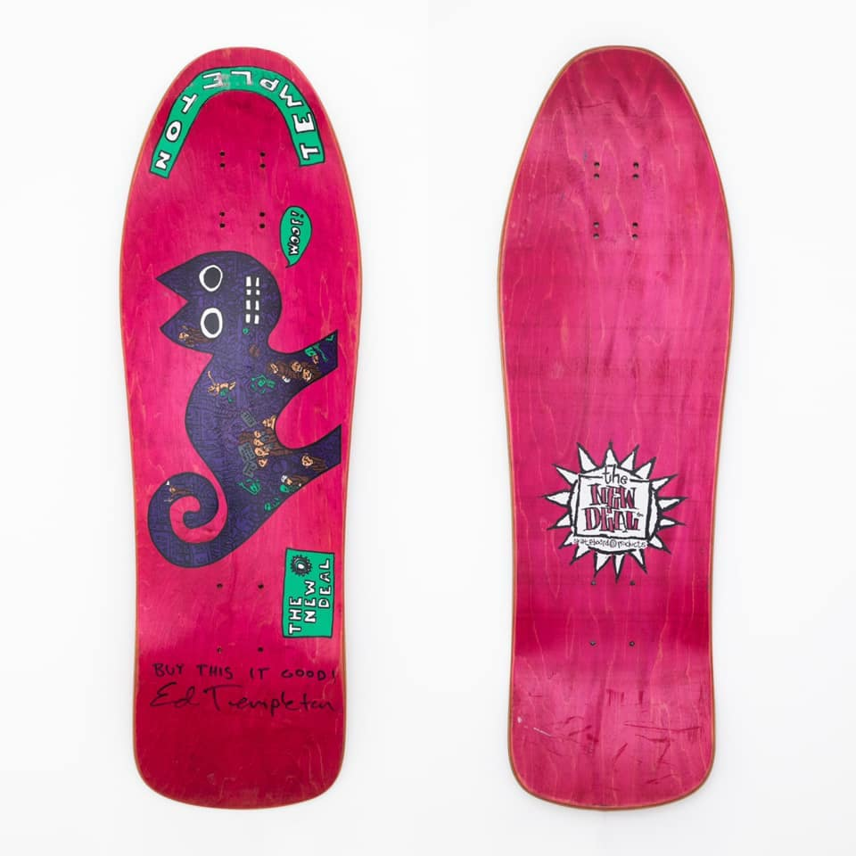 """WOOFCAT is an Ed Templeton board featured in """"New Deal 1990"""" at Subliminal Projects"""