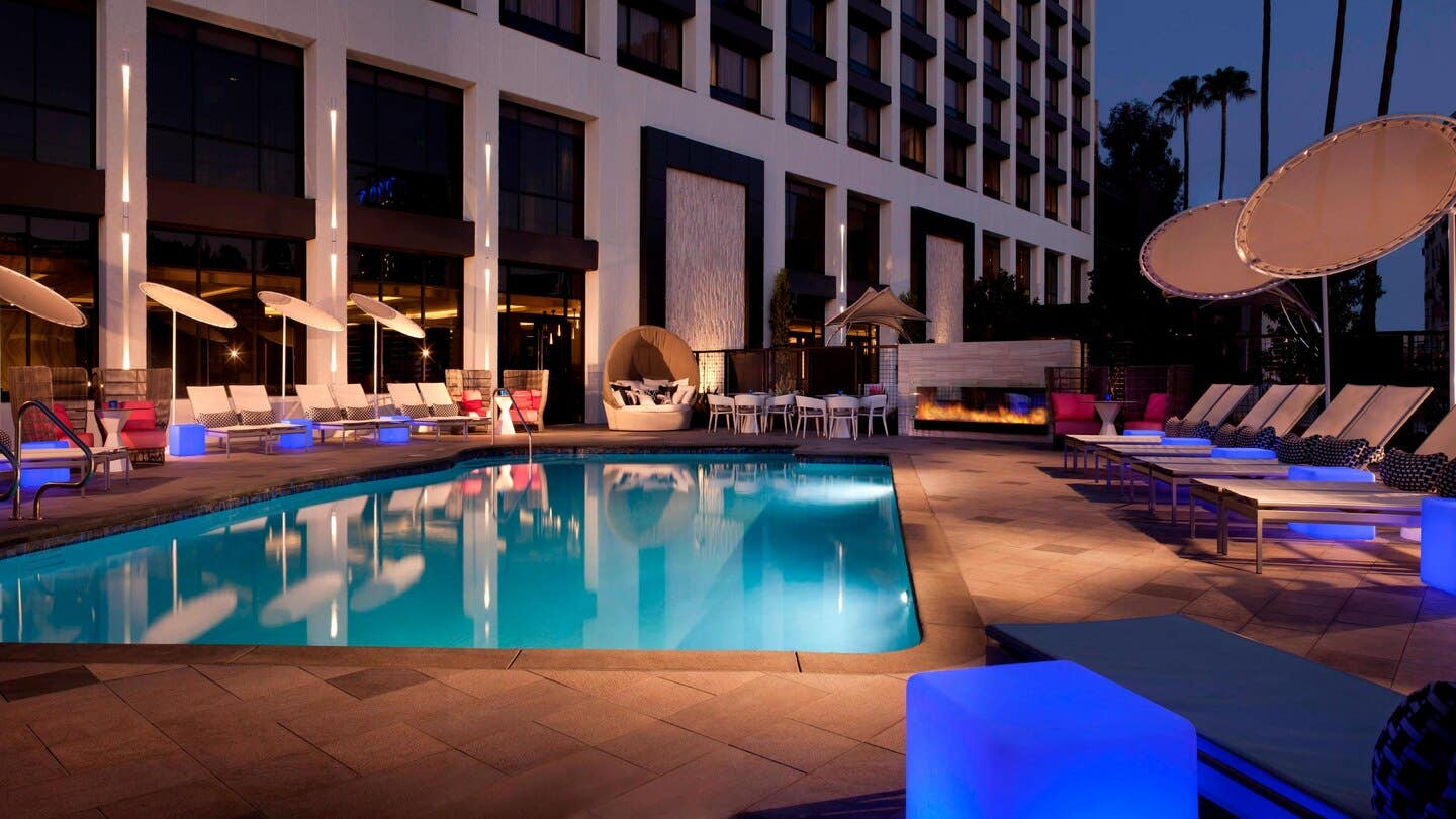 Outdoor pool at the Beverly Hills Marriott