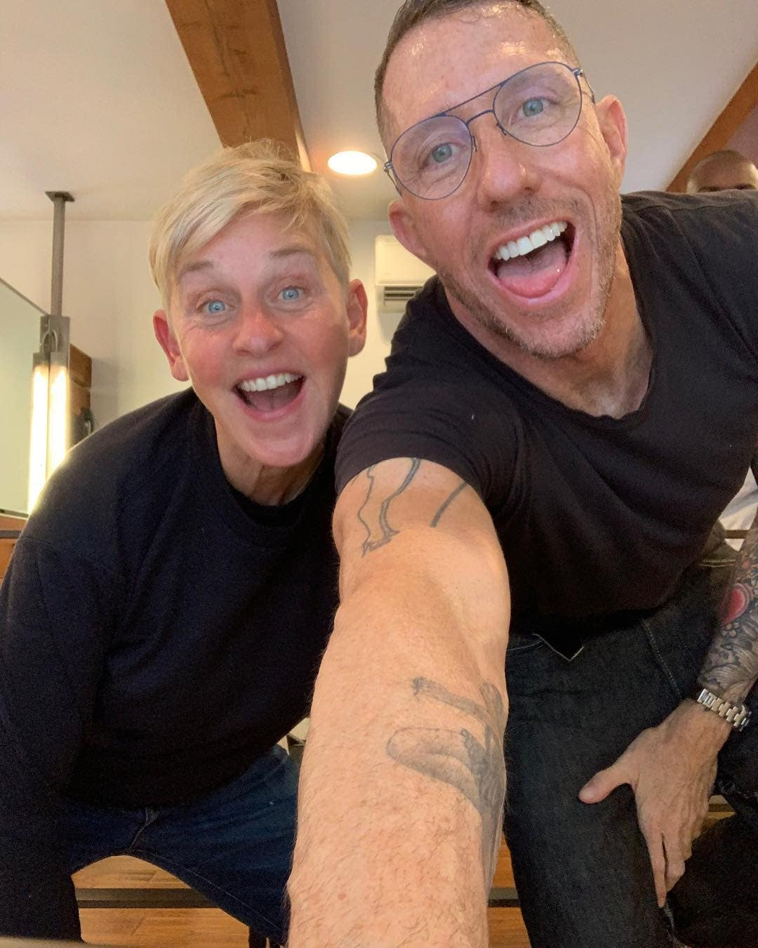 Ellen DeGeneres and Chris McMillan at his salon in Beverly Hills