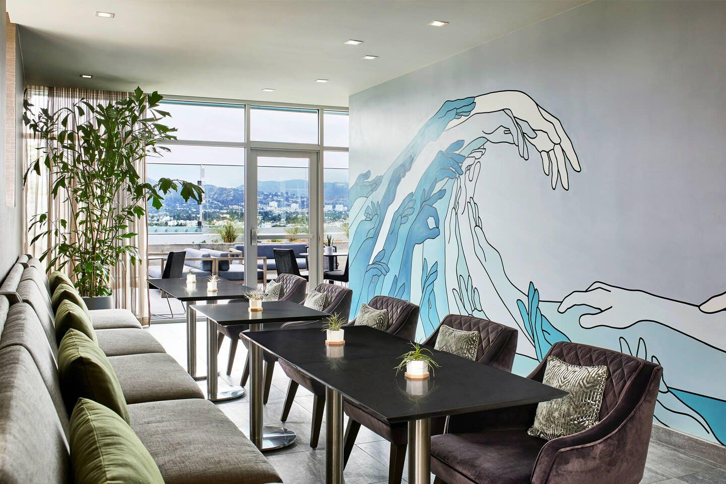 Wall mural inside Level Eleven Lounge at the AC Hotel Beverly Hills