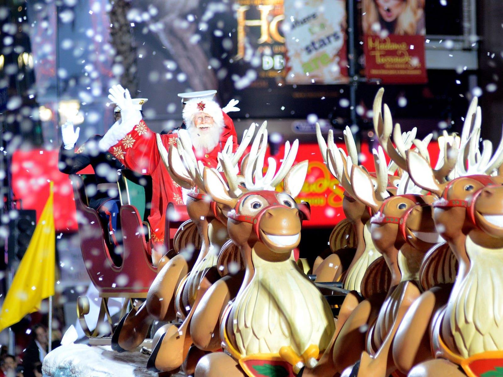 Santa Claus and his reindeer at the Hollywood Christmas Parade