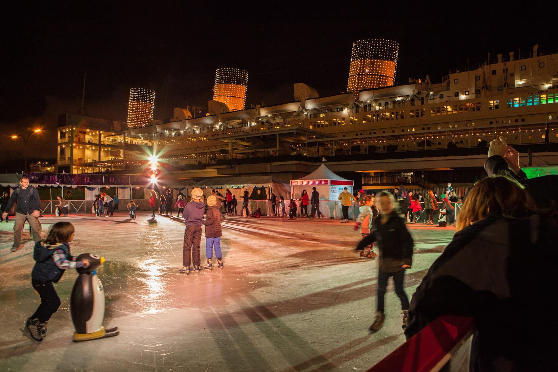 Outdoor ice skating at The Queen Mary True North Ice Rink
