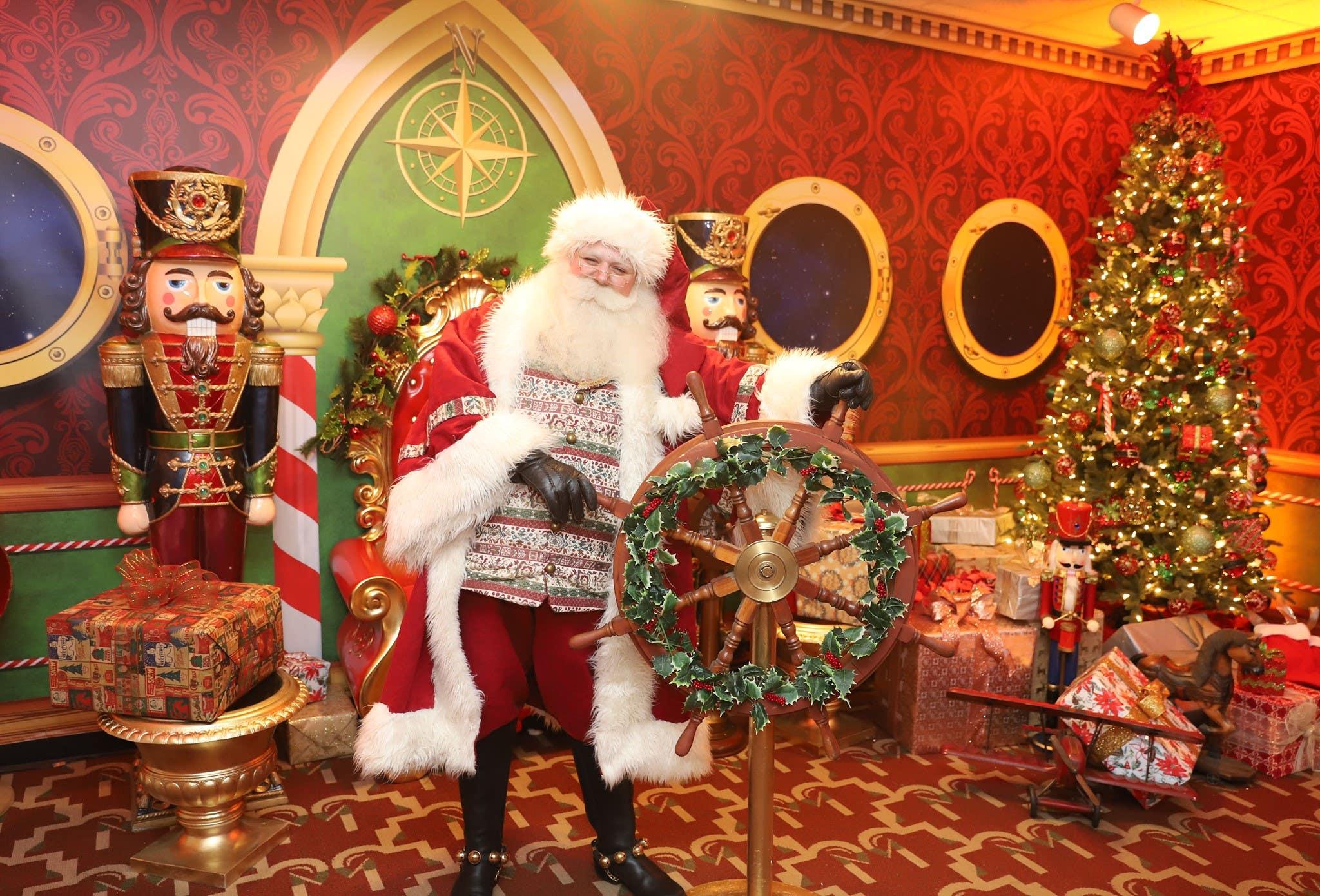 Santa Claus in the Captain's Quartersat Queen Mary Christmas