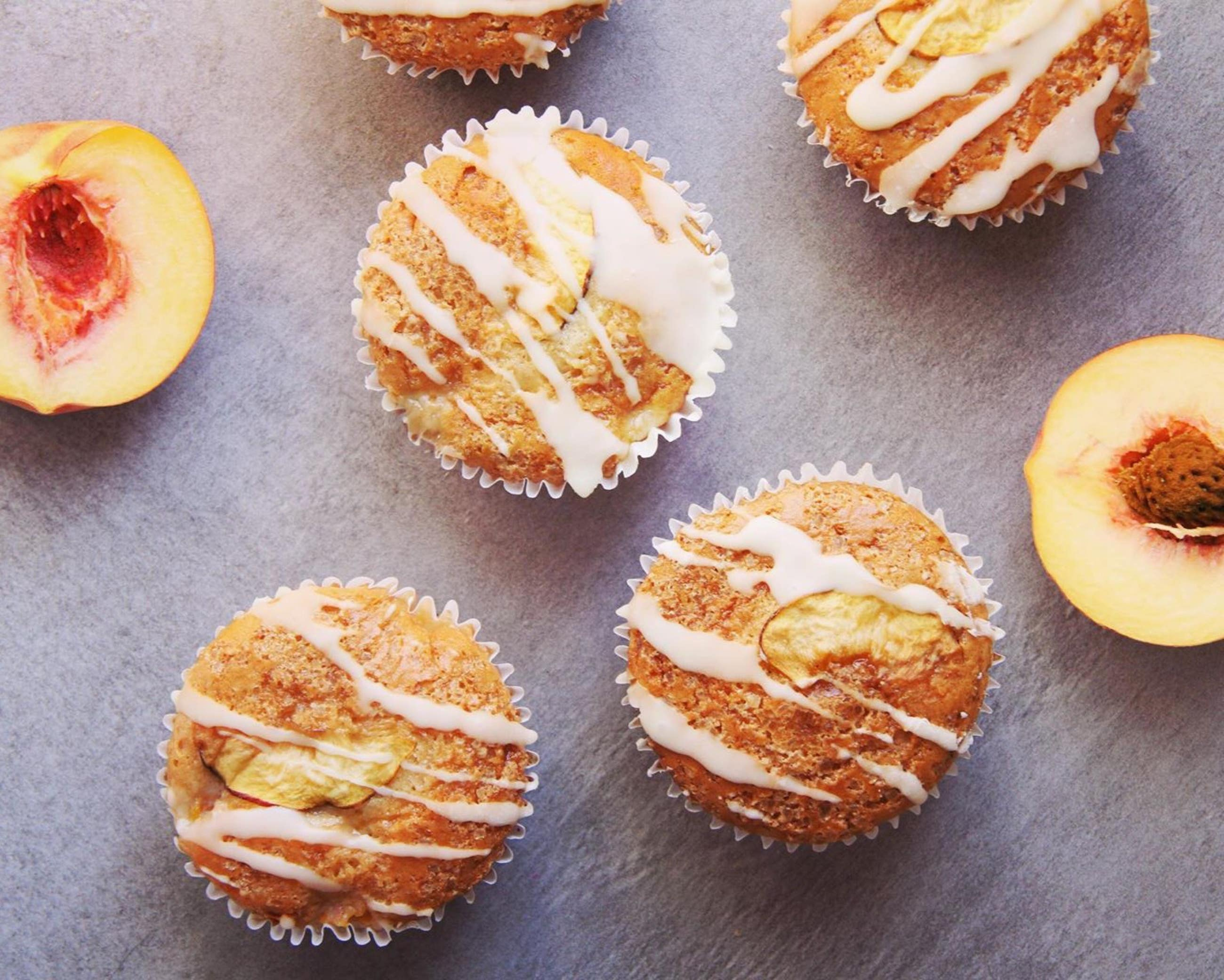 Vegan Peaches & Cream Muffins at The Good Good