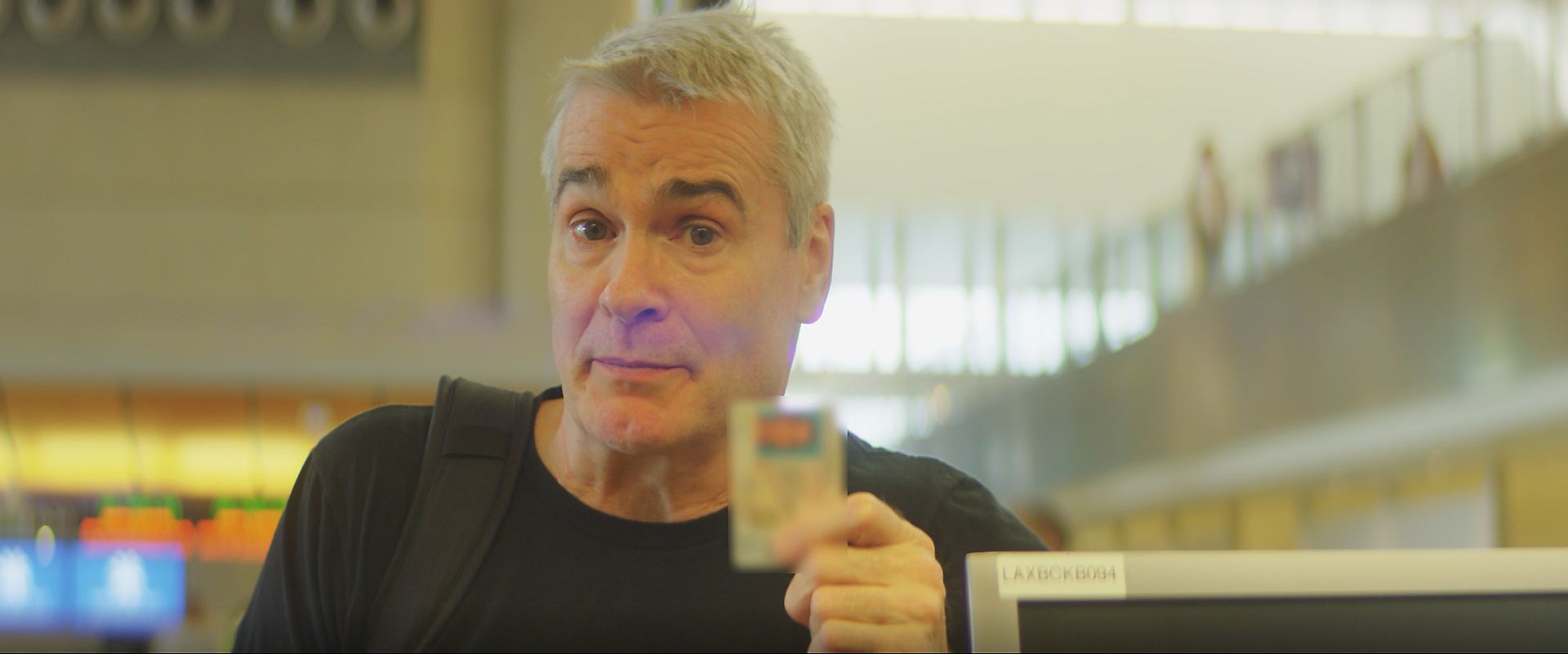 Henry Rollins with his driver's license at LAX