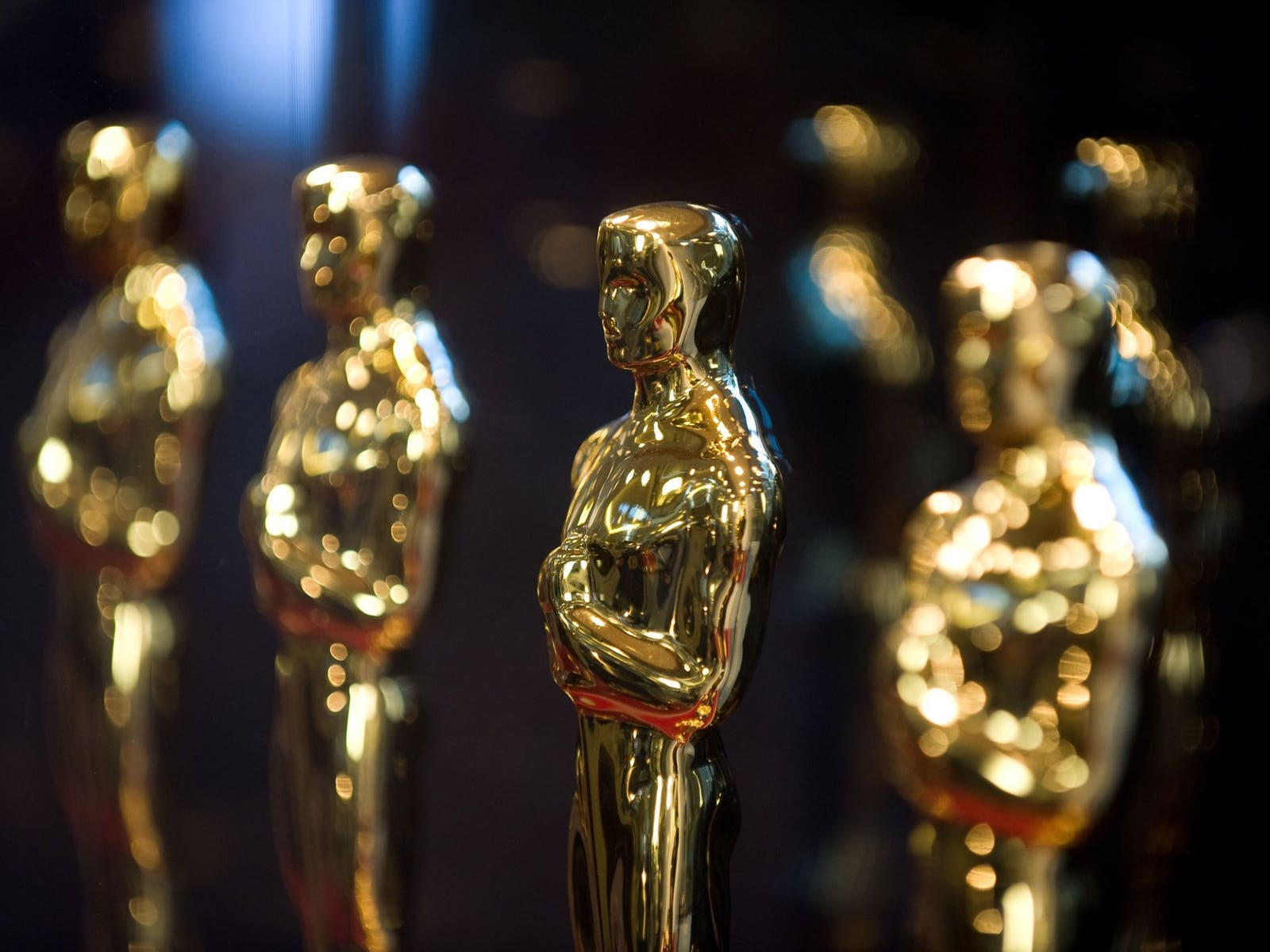 Oscar statues backstage at the Academy Awards