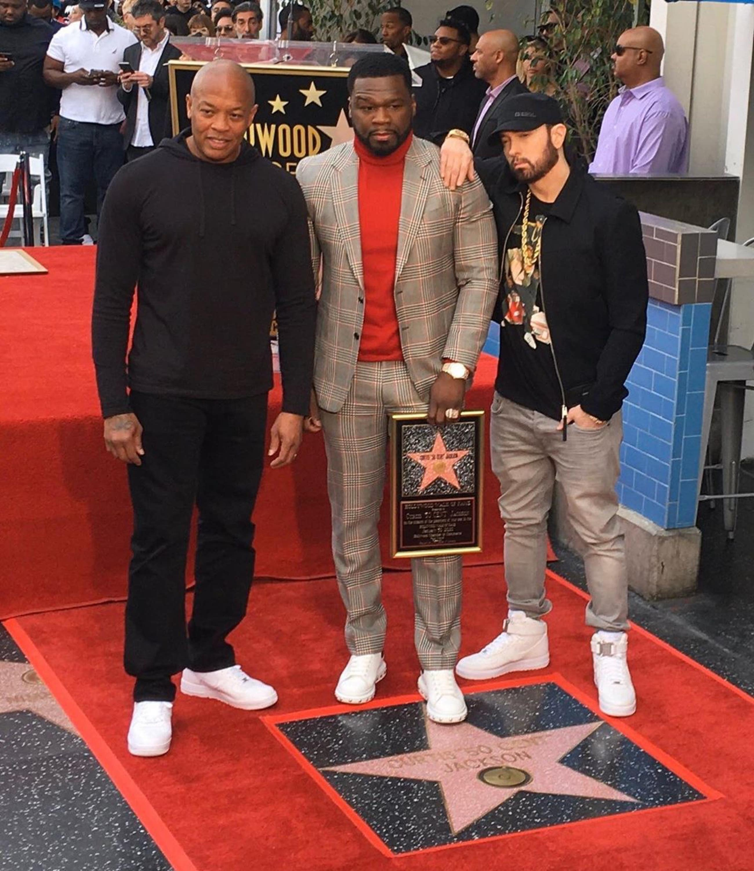 Dr. Dre, 50 Cent and Eminem at 50 Cent's Walk of Fame ceremony in Hollywood