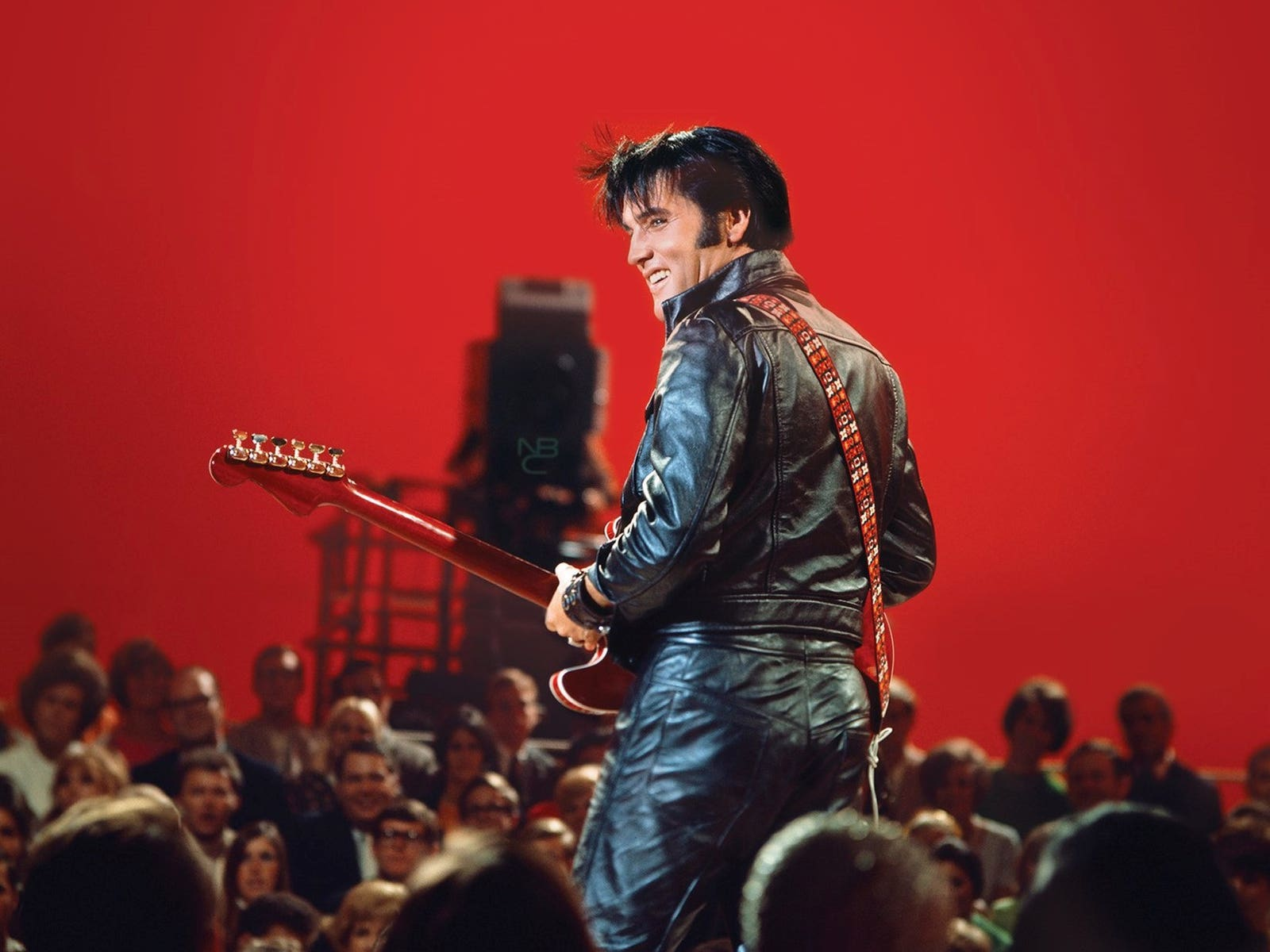 Elvis Presley on stage during his '68 Comeback Special at NBC Studios in Burbank