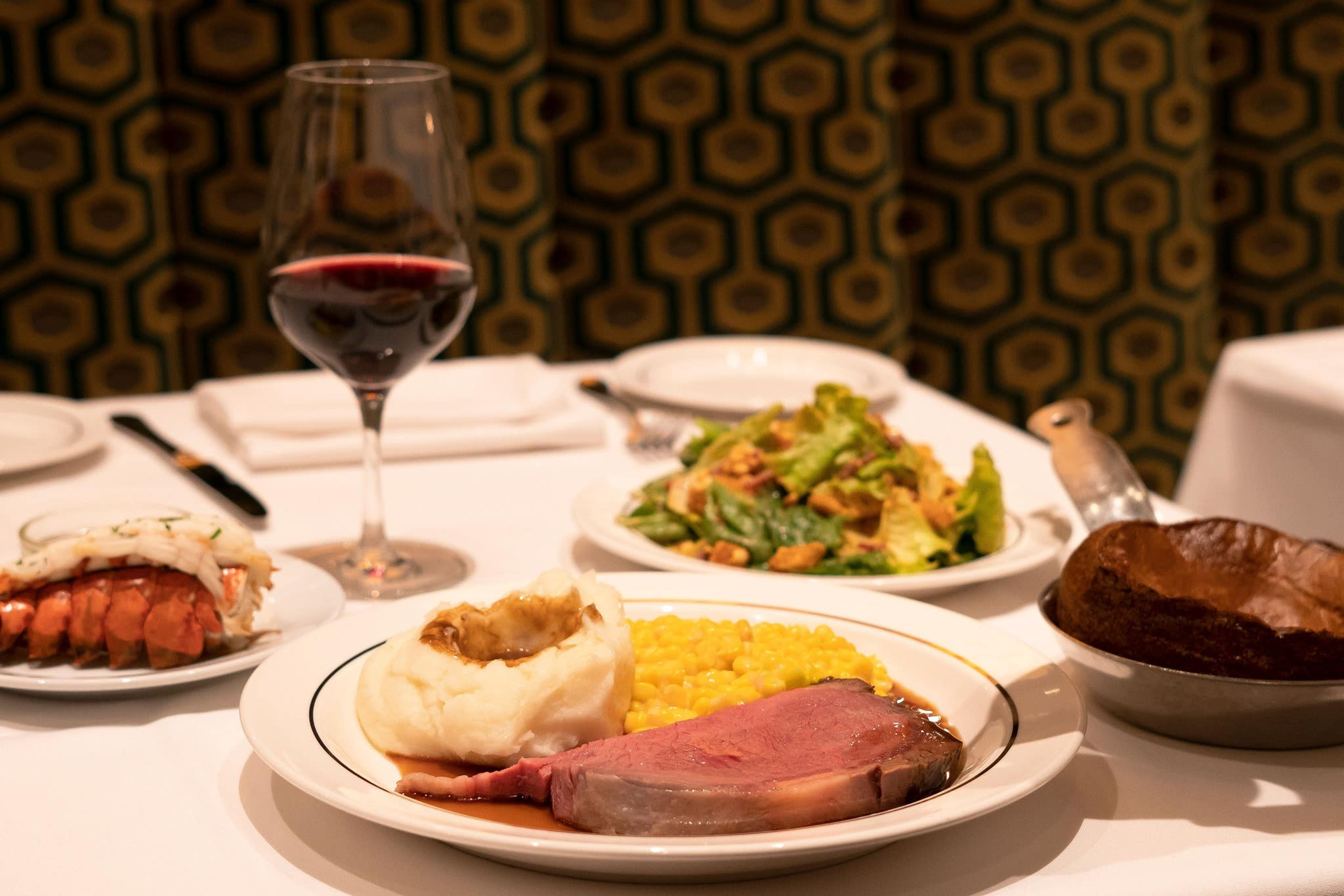 California Cut and lobster tail at Lawry's The Prime Rib in Beverly Hills