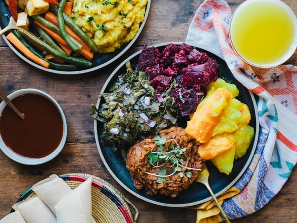 Dishes by Azla Ethiopian Vegan at Mercado la Paloma