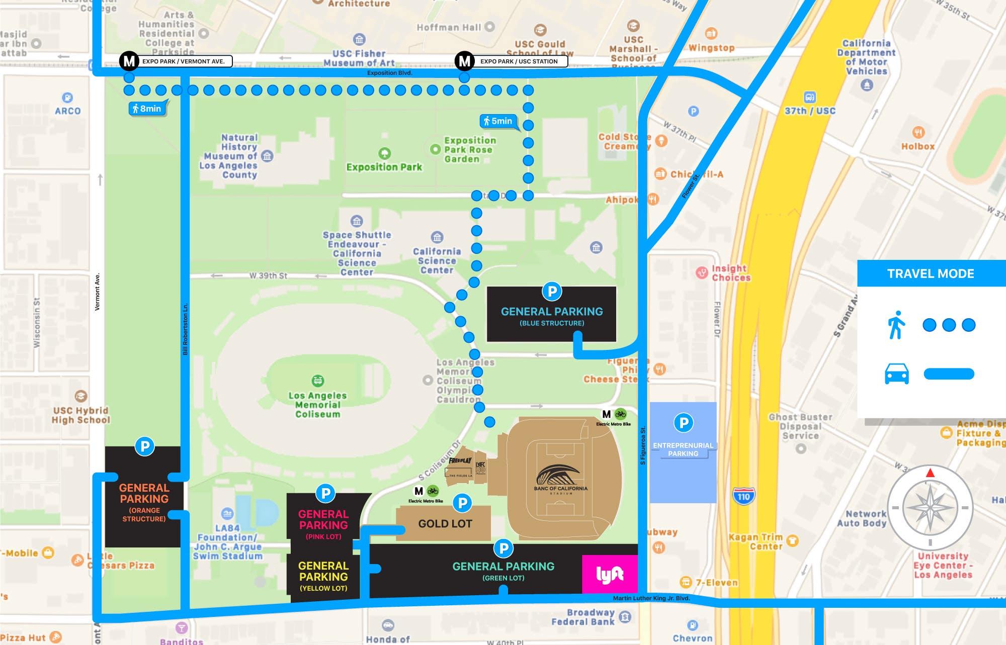 Banc of California Stadium parking map