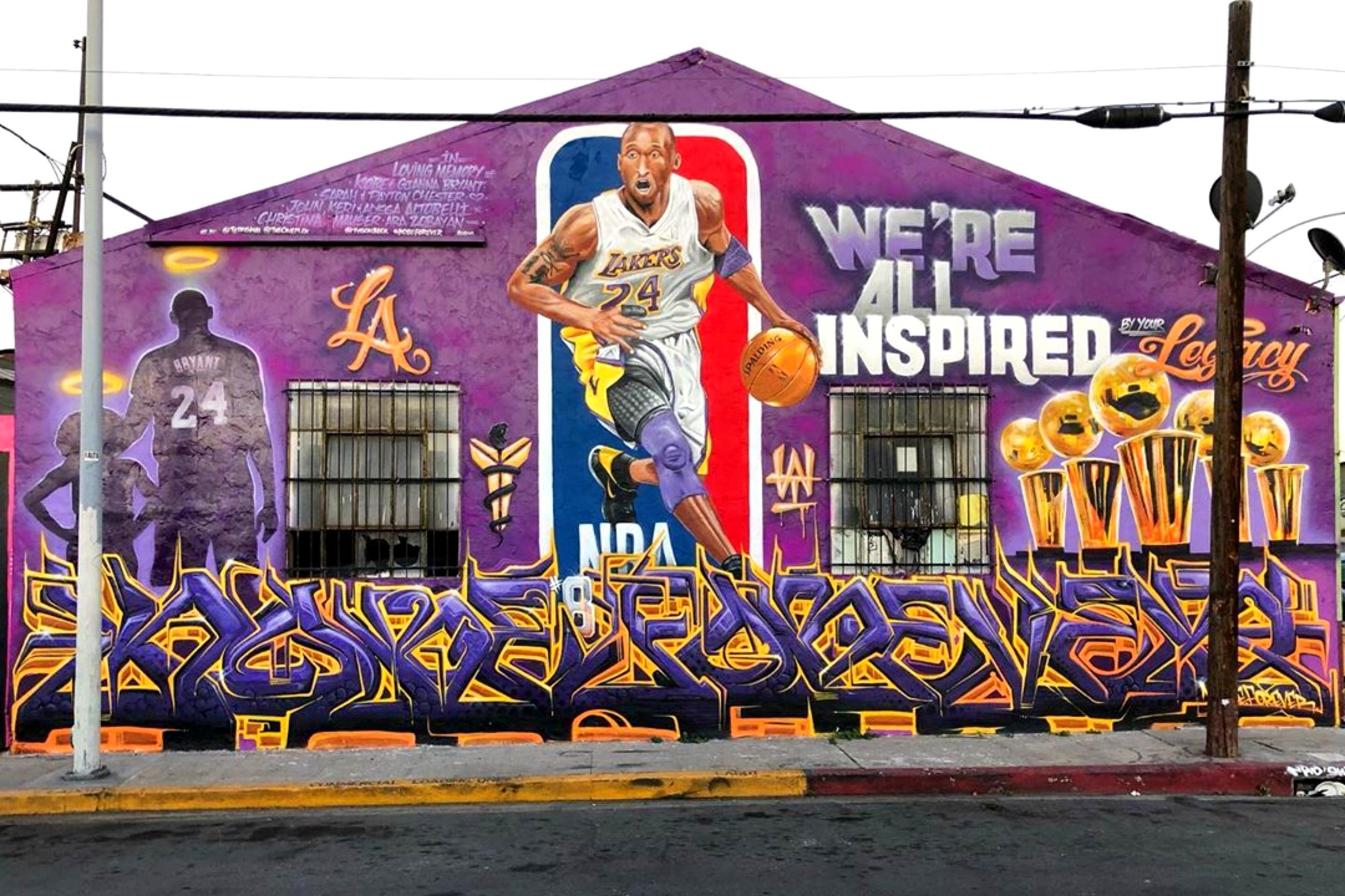 """We're All Inspired"" Kobe Bryant mural at Gopar Auto Repair in Boyle Heights"