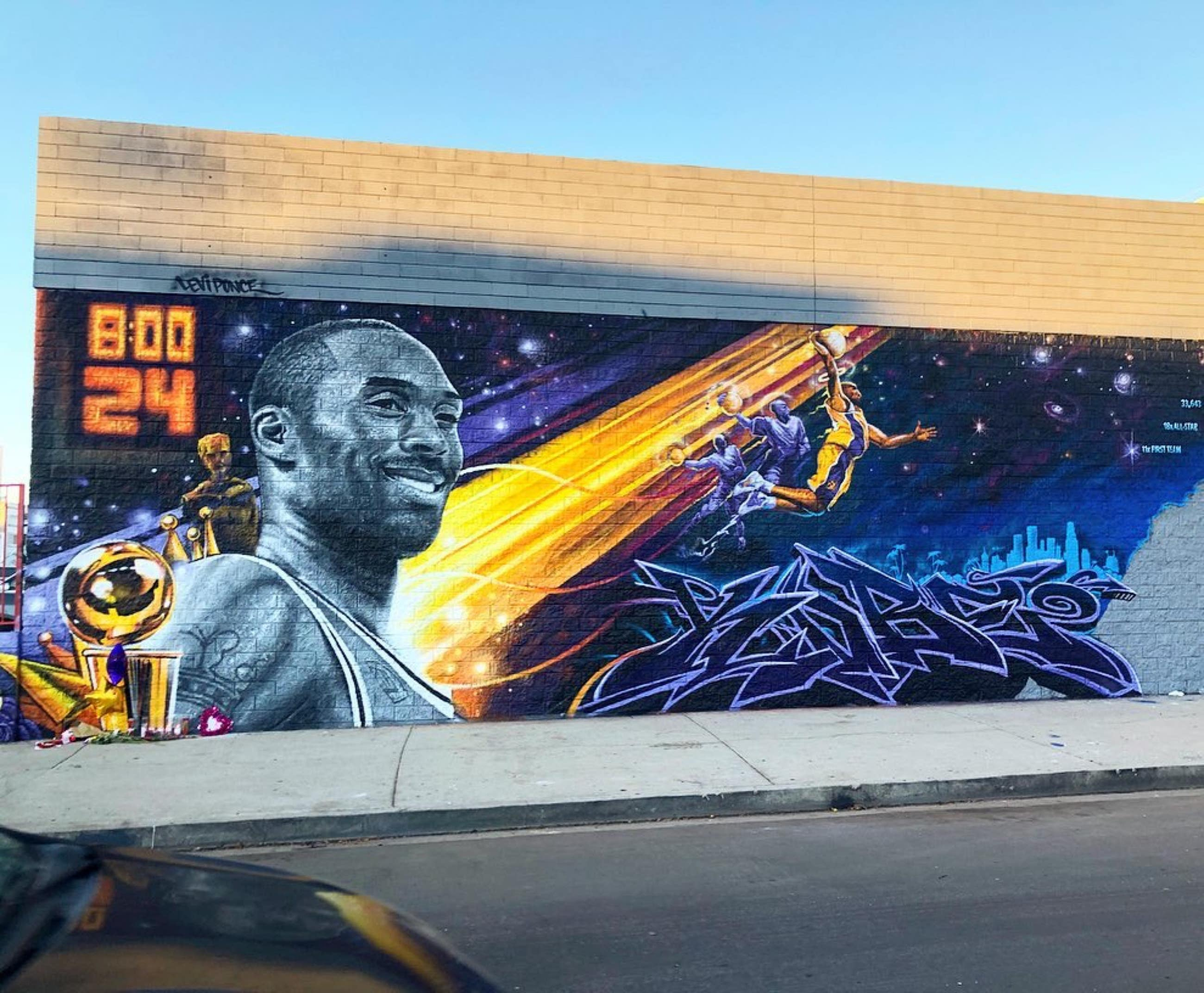 Kobe Bryant mural by Levi Ponce and others at Custom Auto Craft in Hancock Park
