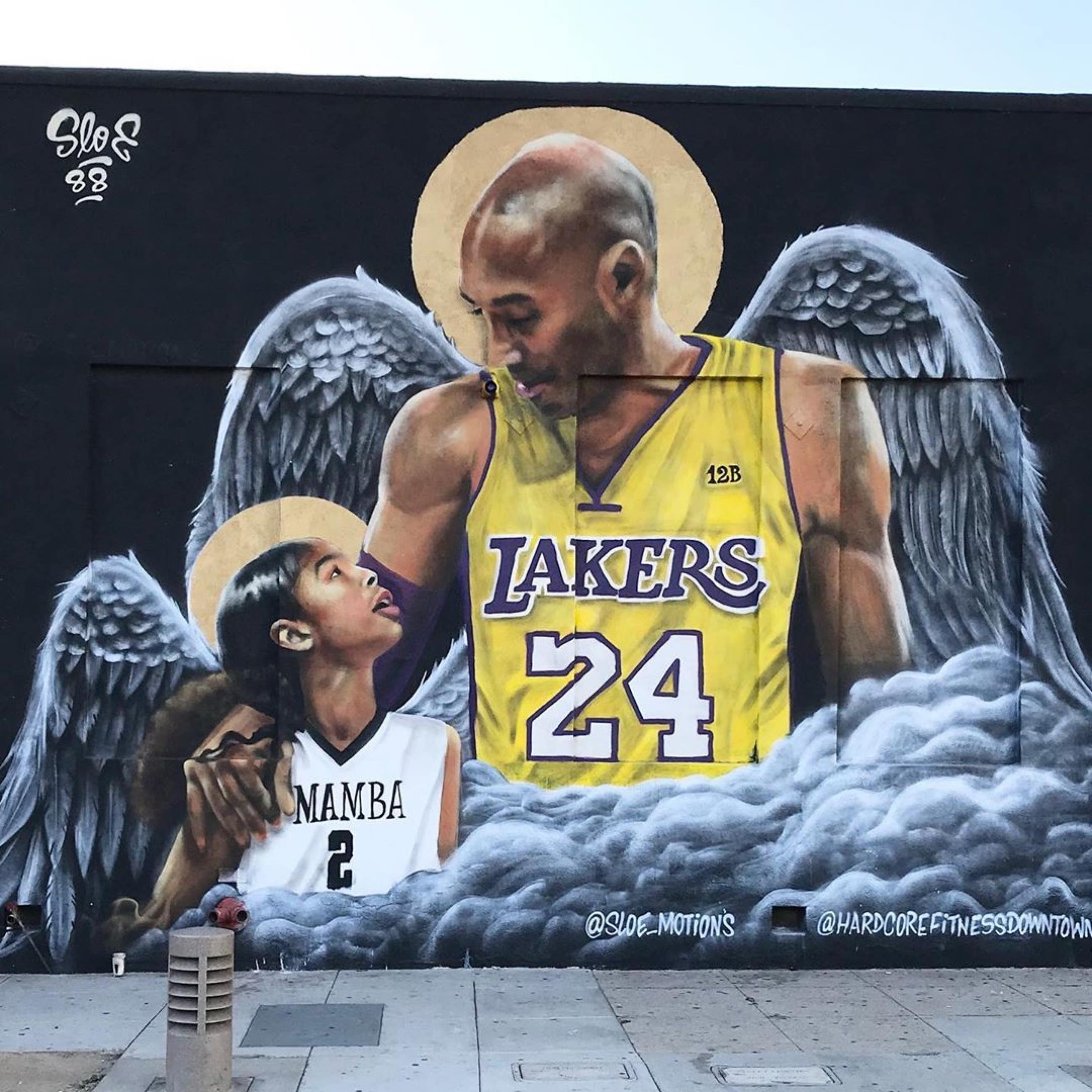 Kobe and Gianna Bryant mural by @sloe_motions at Hardcore Fitness Boot Camp DTLA