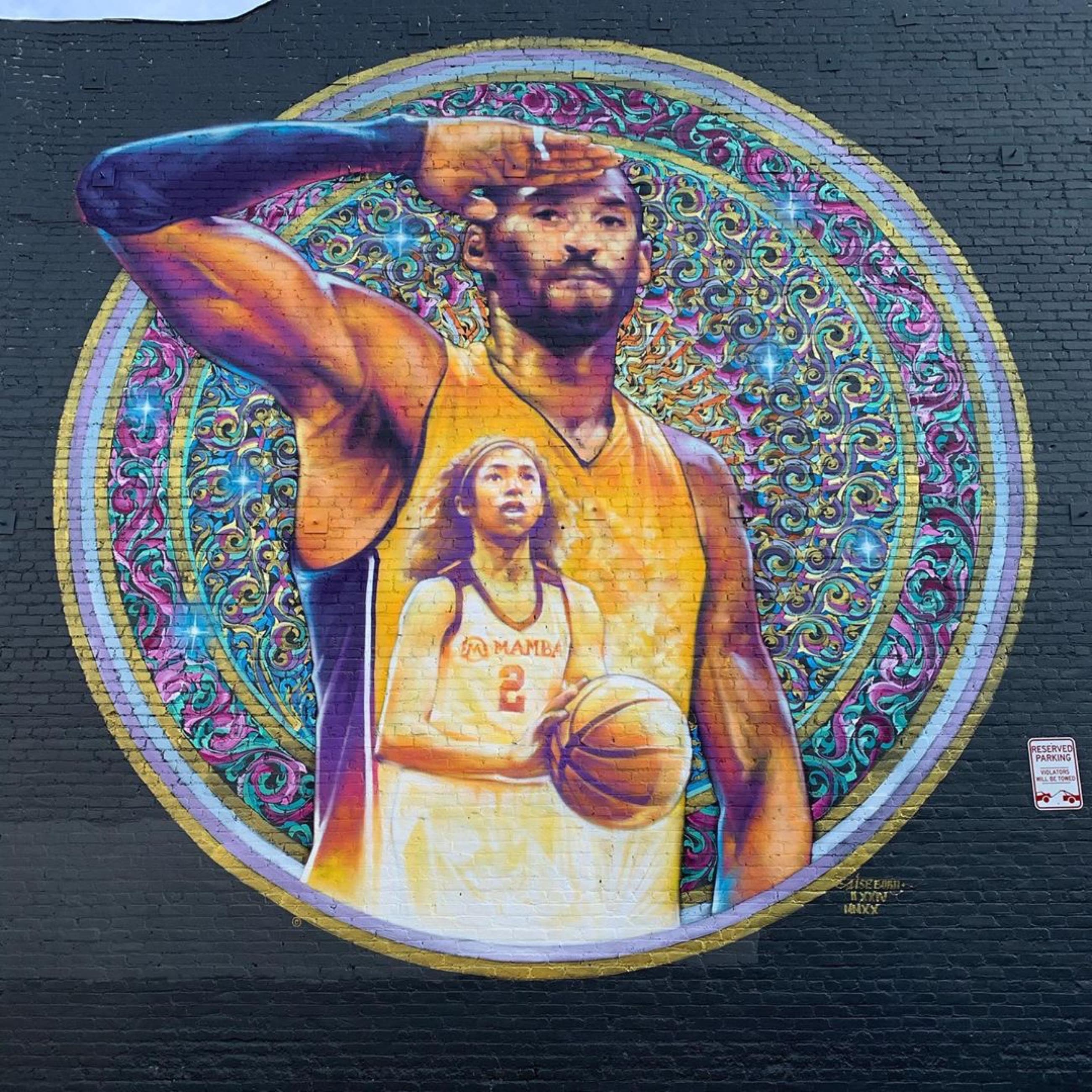 Kobe and Gianna Bryant mural by AISEBORN in Downtown LA