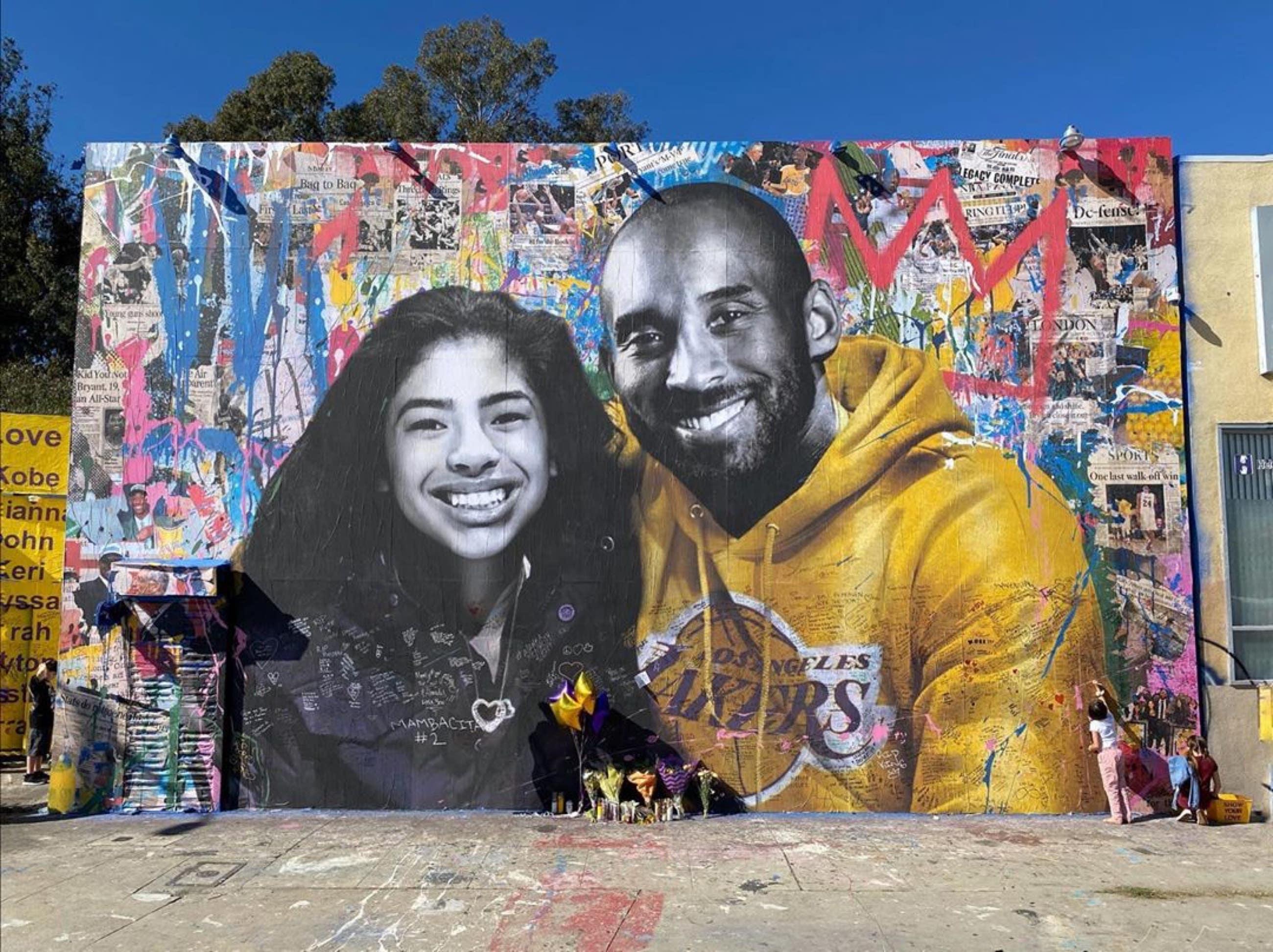 Kobe and Gianna Bryant mural by Mr. Brainwash