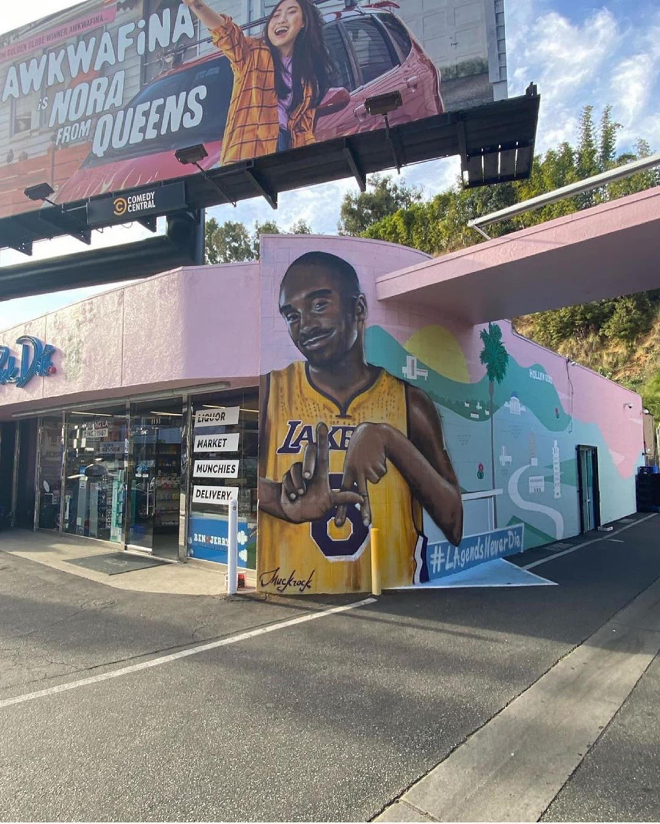 Kobe Bryant mural by Jules Muck at Pink Dot in West Hollywood
