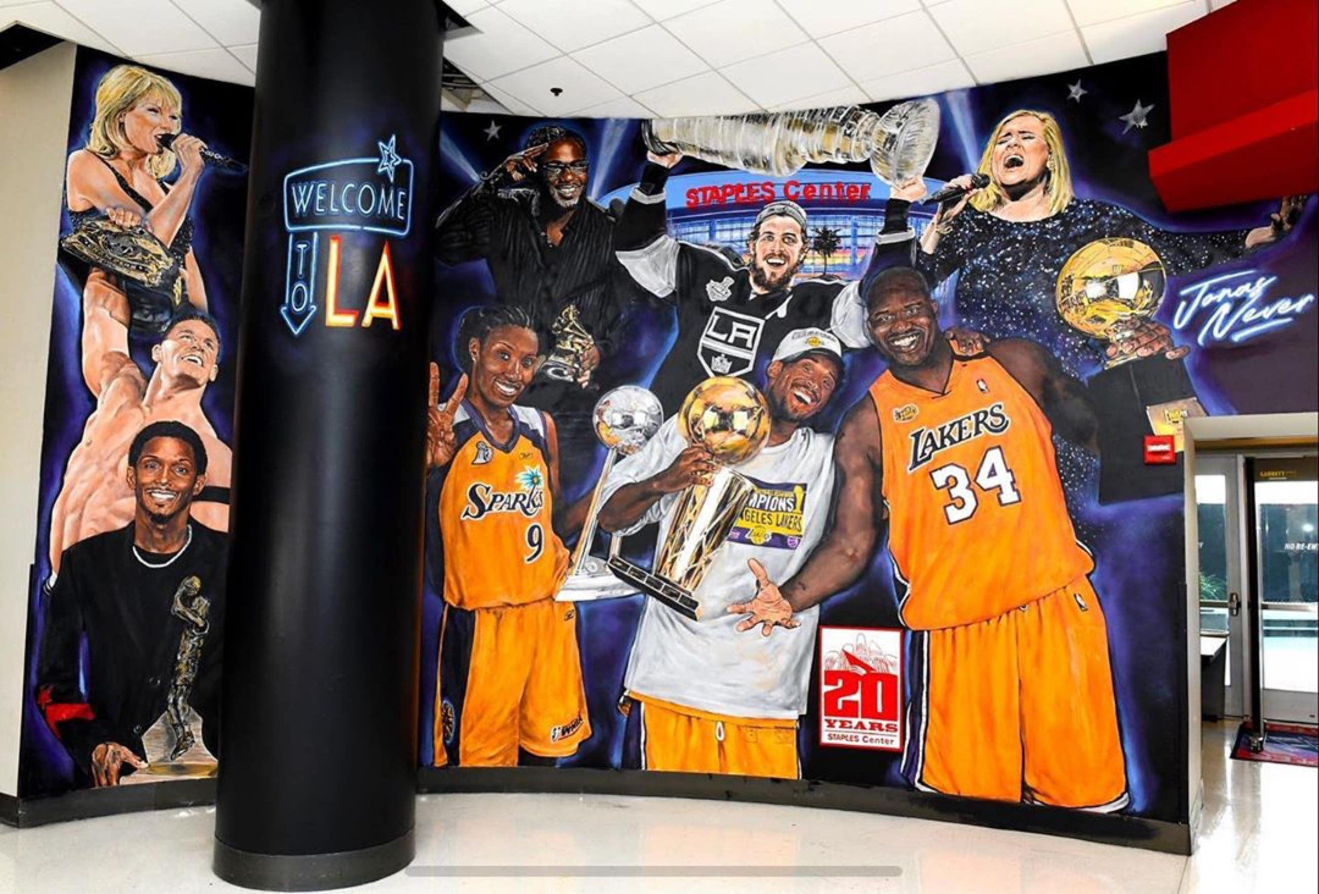 STAPLES Center 20th anniversary mural by Jonas Never