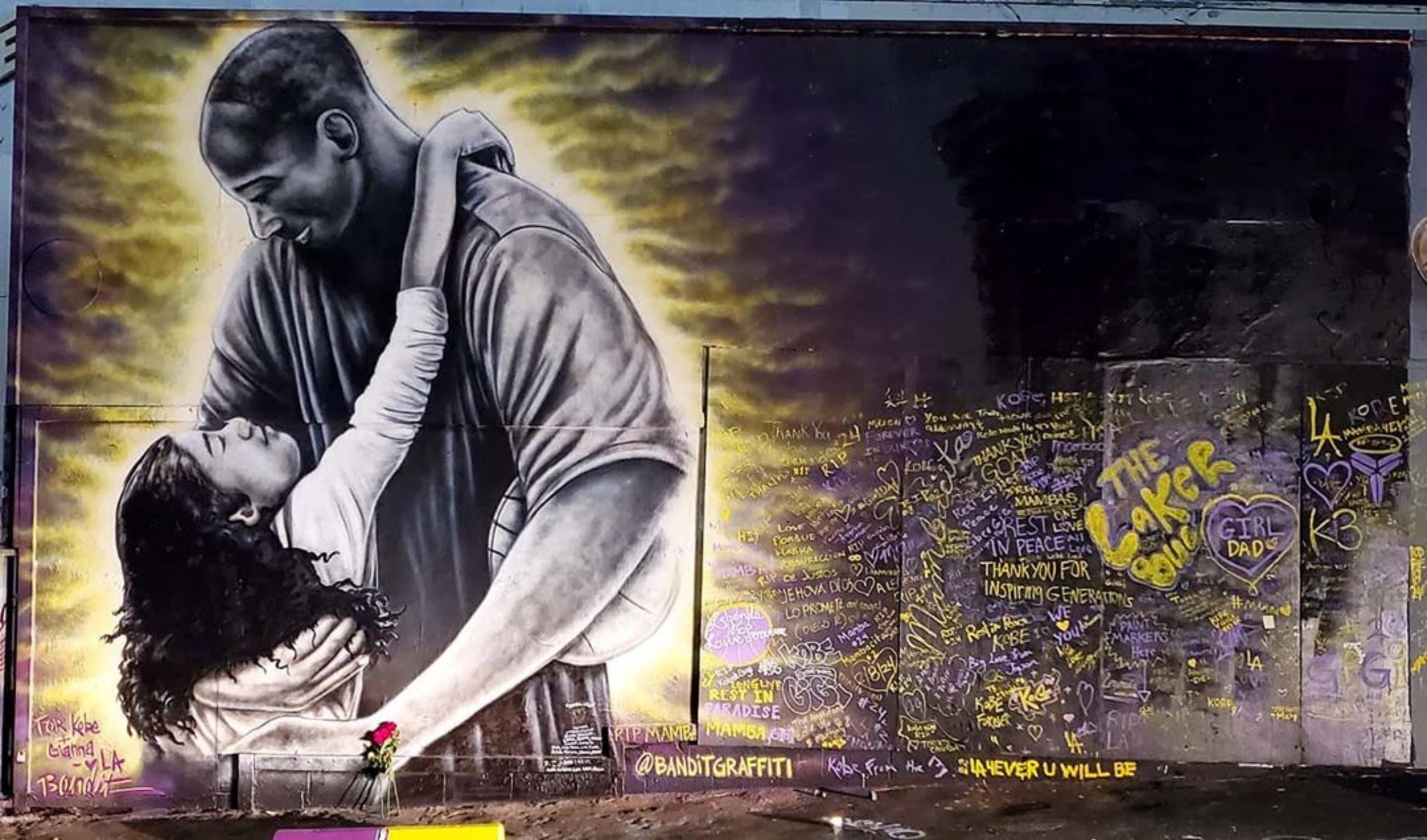 Kobe and Gianna Bryant mural by @banditgraffiti at Sportie LA on Melrose Avenue
