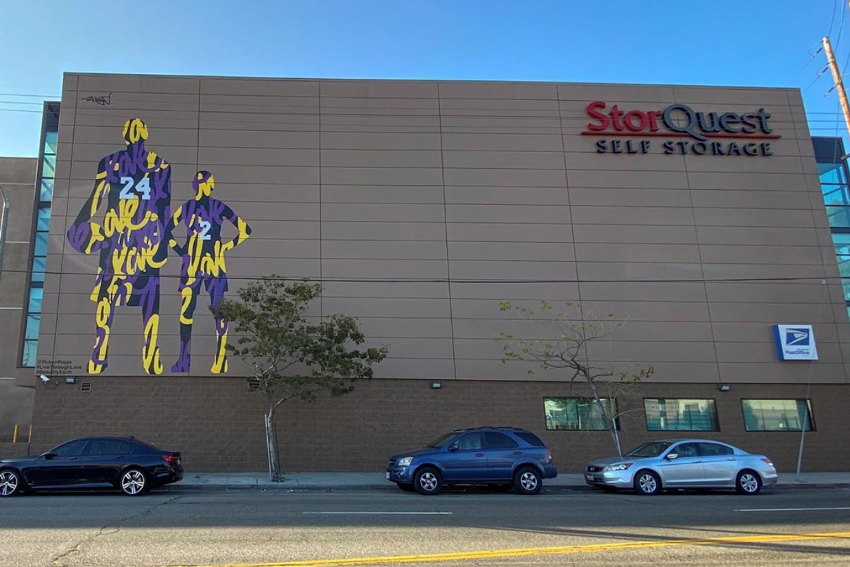 Kobe and Gianna Bryant mural at StorQuest Self Storage in Historic South Central