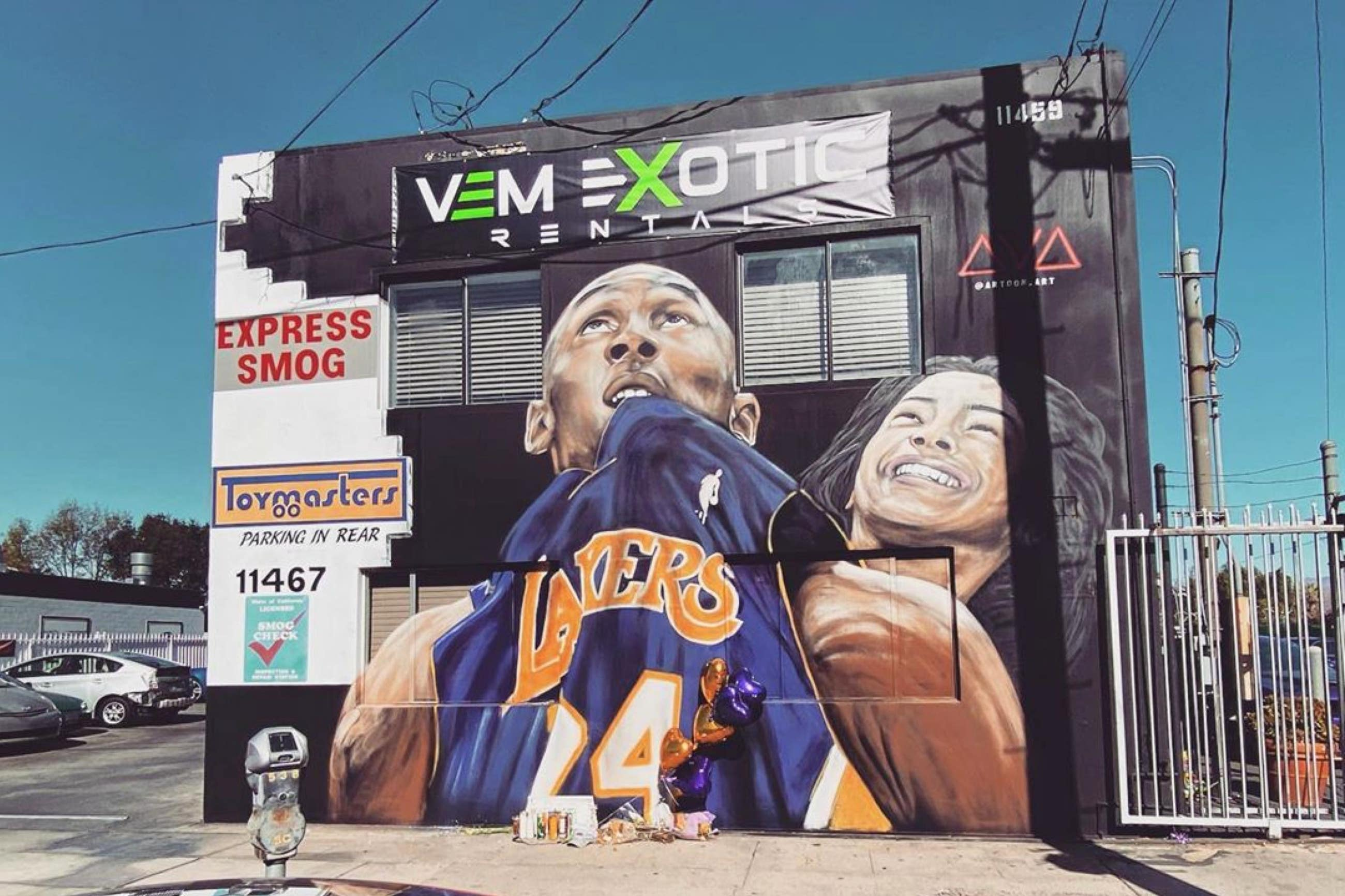 Kobe and Gianna Bryant mural by Artoon at VEM Exotic Rentals in Studio City