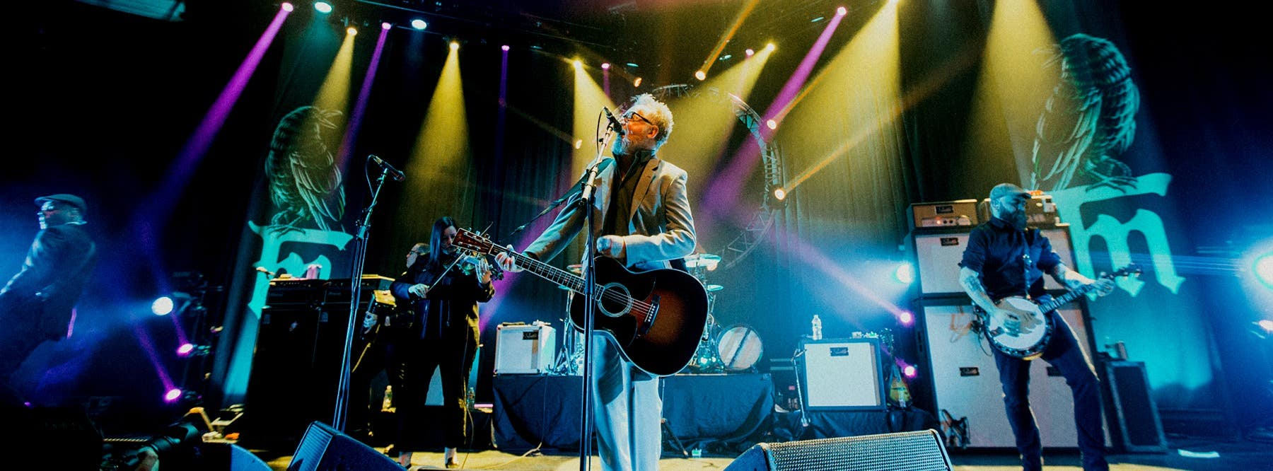 Flogging Molly performing on stage